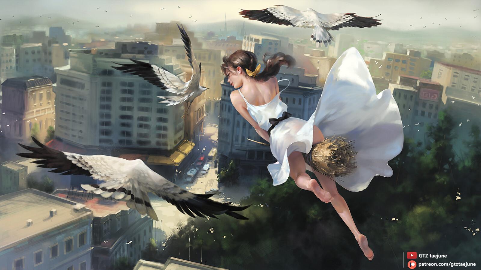 General 1600x900 ponytail fantasy girl dress white dress witch broom witches broom barefoot city birds fantasy art artwork drawing digital art illustration Taejune Kim foot sole
