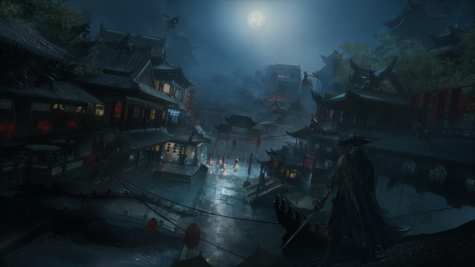 General 1920x1080 Asia artwork fantasy art fantasy city night Moon WuXia Chinese architecture