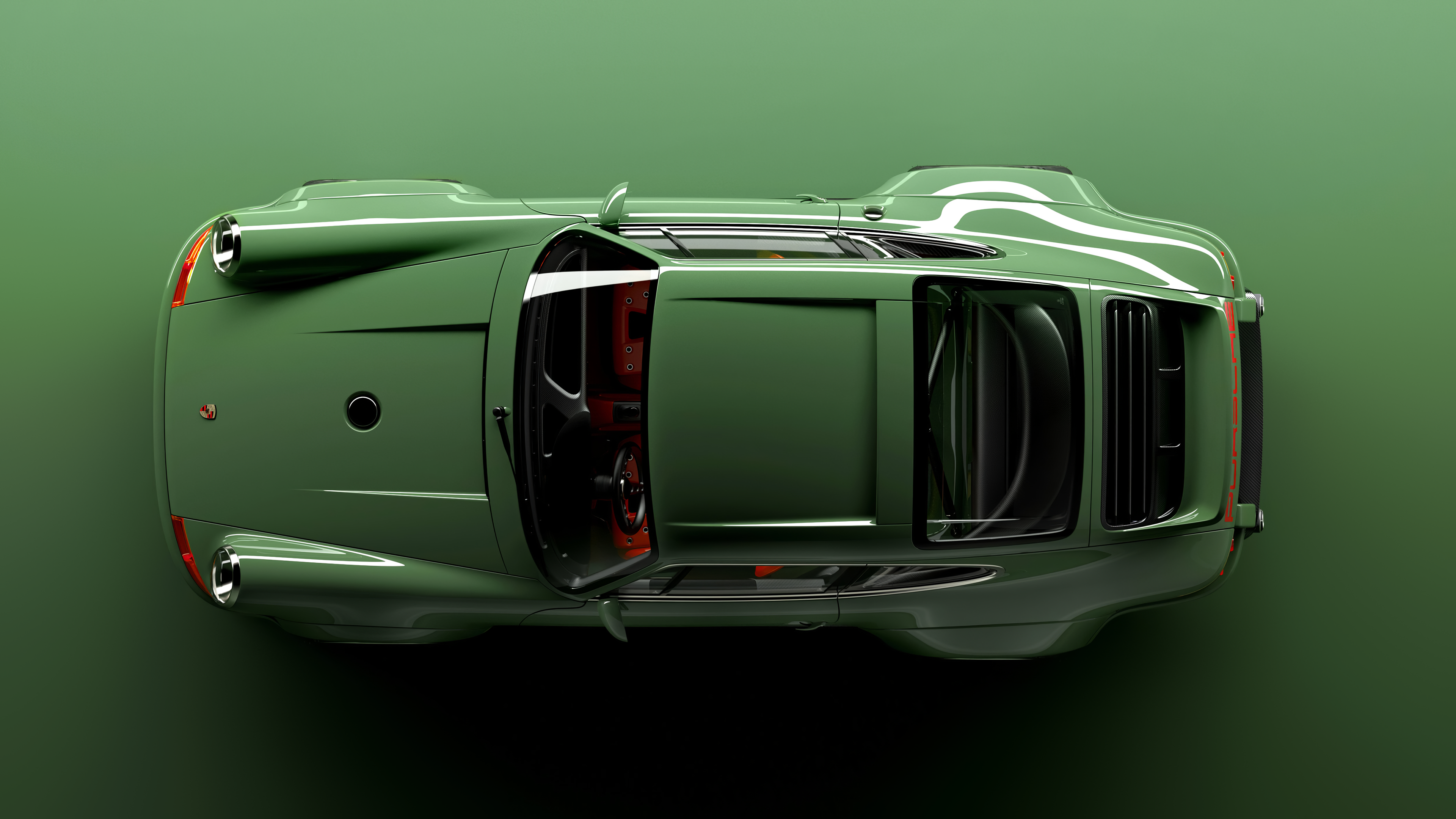 General 3840x2160 Porsche top view car vehicle green cars Porsche 911 Carrera