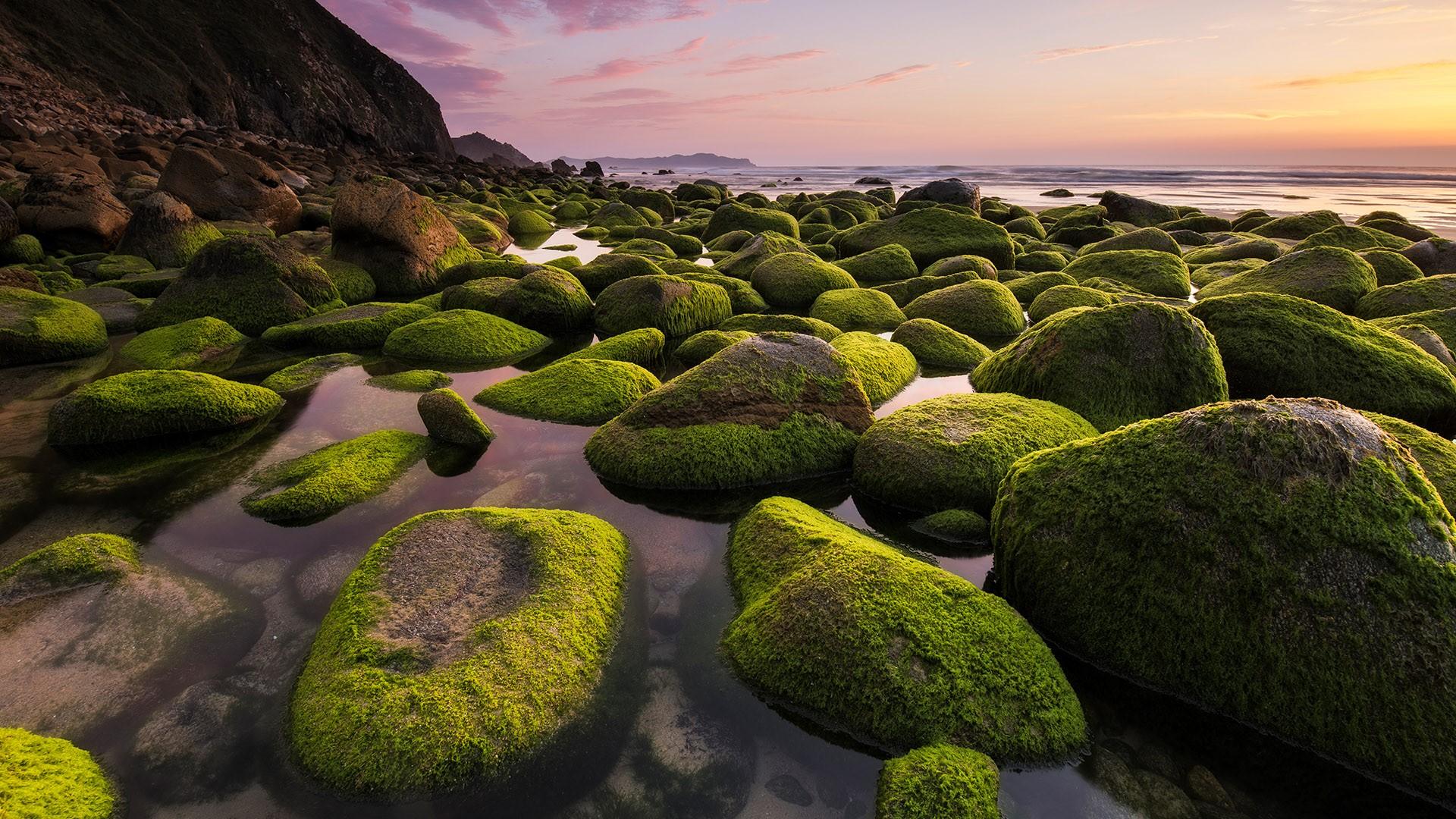 General 1920x1080 nature landscape rocks moss mountains sunset beach coast water sea horizon Galicia Spain