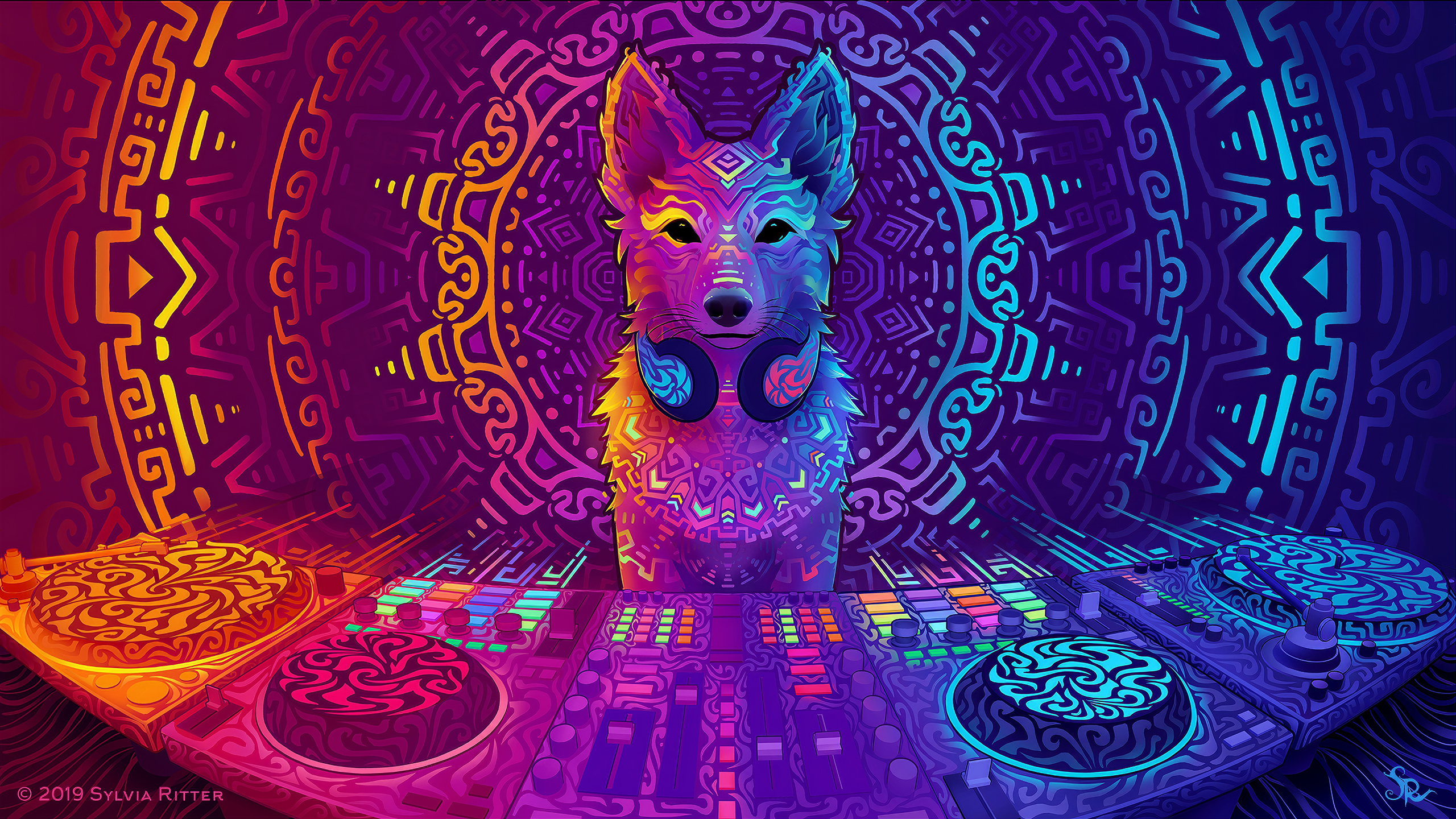 General 2560x1440 psychedelic abstract colorful headphones music player sound mixers technology music digital art Ubuntu disc jockey turntables Linux dingo DJ