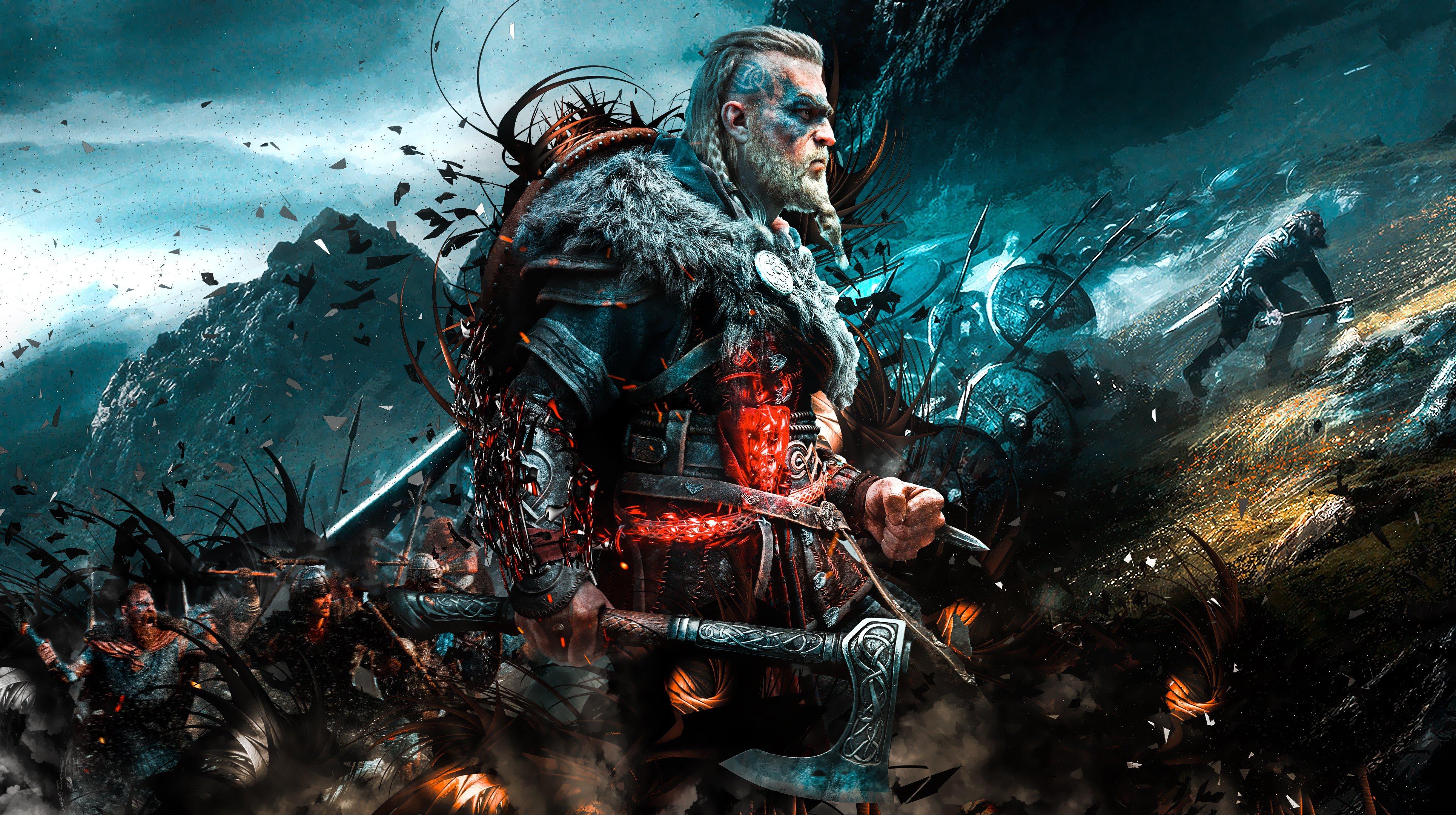 General 3860x2160 Assassin's Creed: Valhalla Assassin's Creed viking Axe video games video game art digital art battle shield cyan