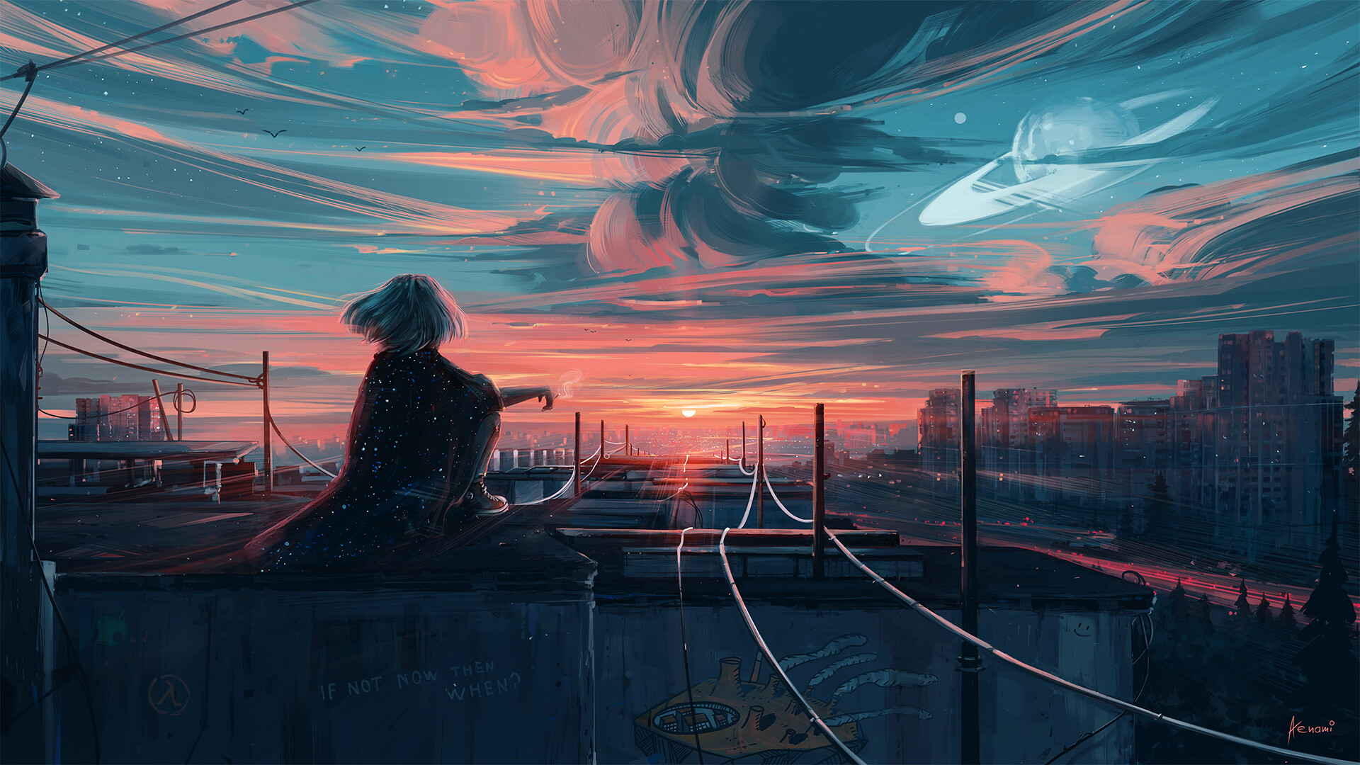 General 1920x1080 sunset sunlight rooftops Aenami clouds powerlines stars digital art artwork city cityscape horizon planet