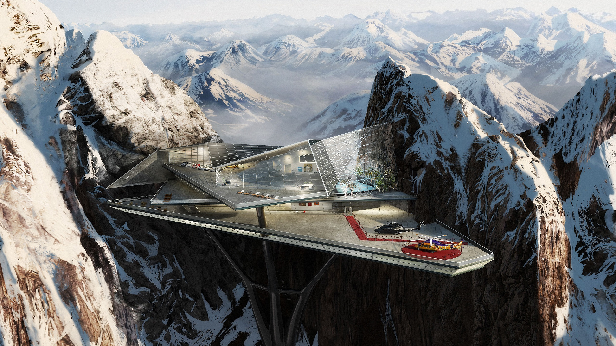 General 2560x1440 snow architecture helicopter mountains futuristic snowy mountain digital art Stark Industries