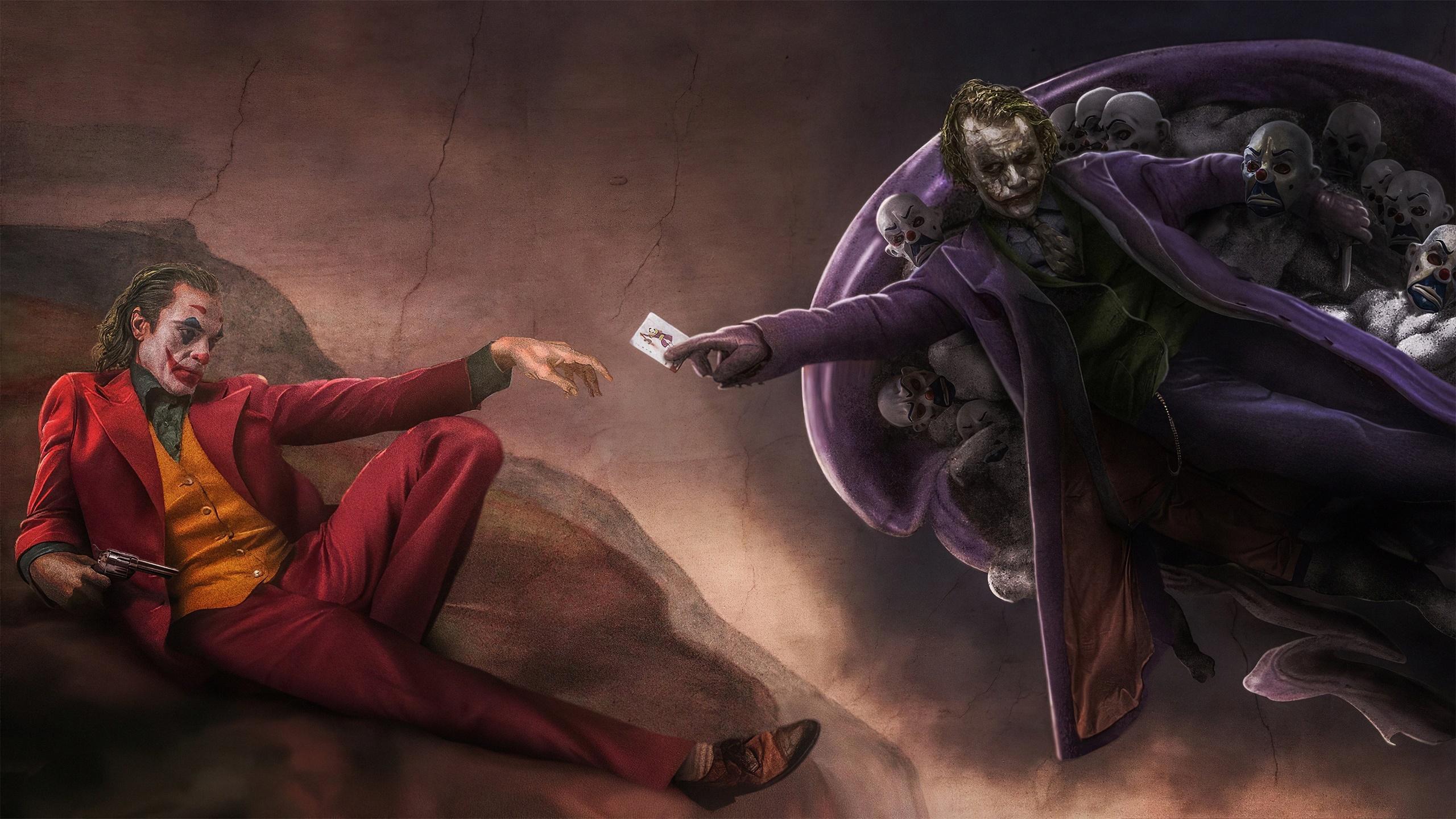General 2560x1440 artwork movies Joker Heath Ledger Joaquin Phoenix pistol DC Comics parody