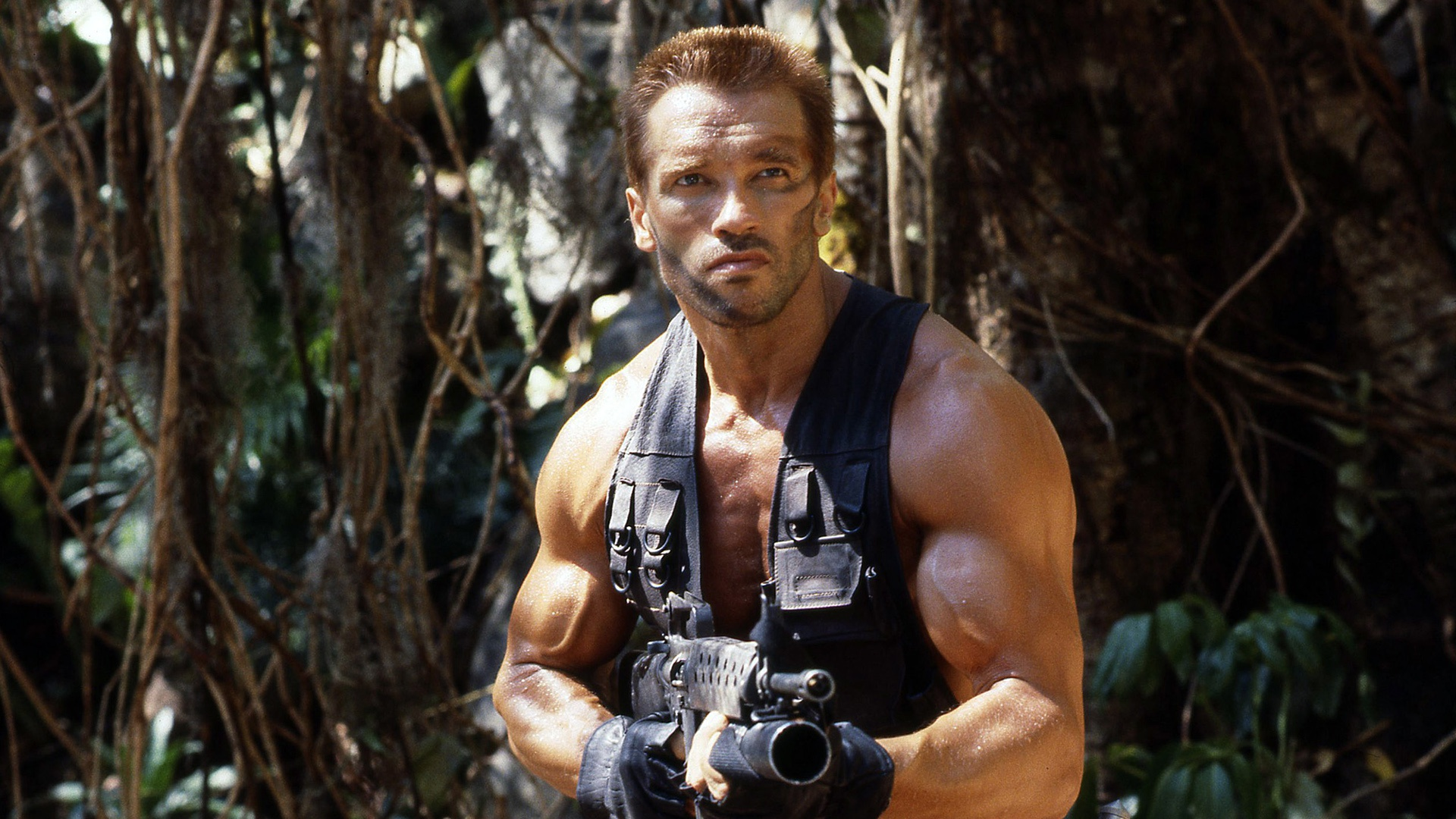 People 1920x1080 1987 (Year) movies muscles Arnold Schwarzenegger weapon Predator (movie) men film stills AR-15 grenade launchers gloves jungle actor