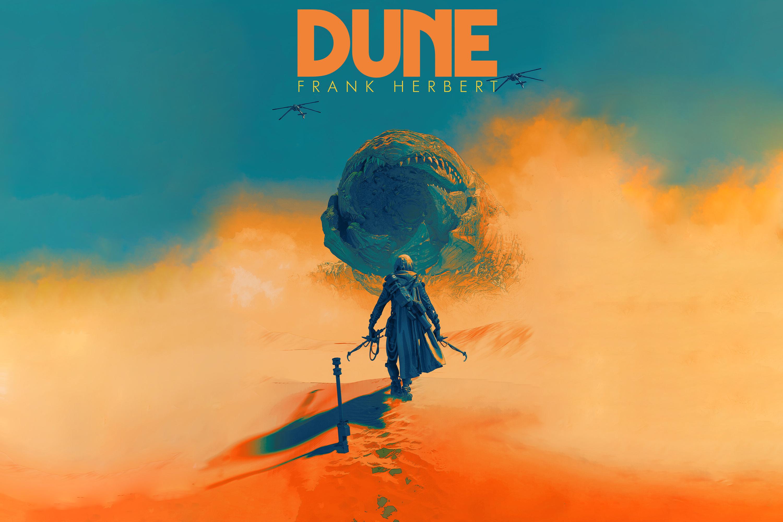 General 3000x2000 Pascal Blanche Dune (movie) Dune (series) artwork science fiction desert giant digital art poster 4K