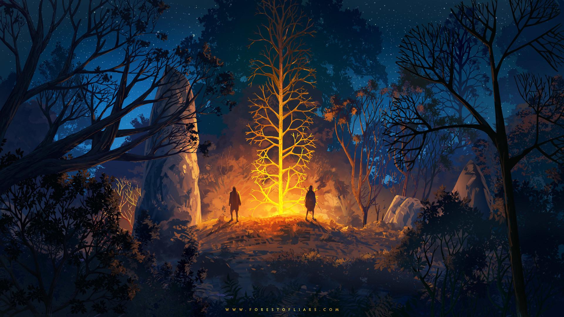General 1920x1080 Sylvain Sarrailh Forest of Liars trees night stars artwork video game art digital art rocks