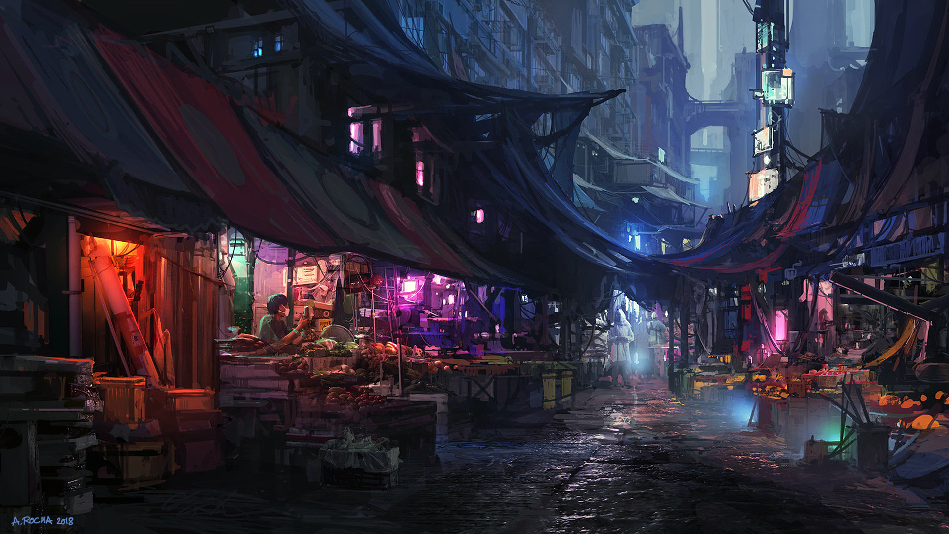 General 1920x1080 Andreas Rocha artwork digital art Market city street cityscape futuristic city 2018 (Year)