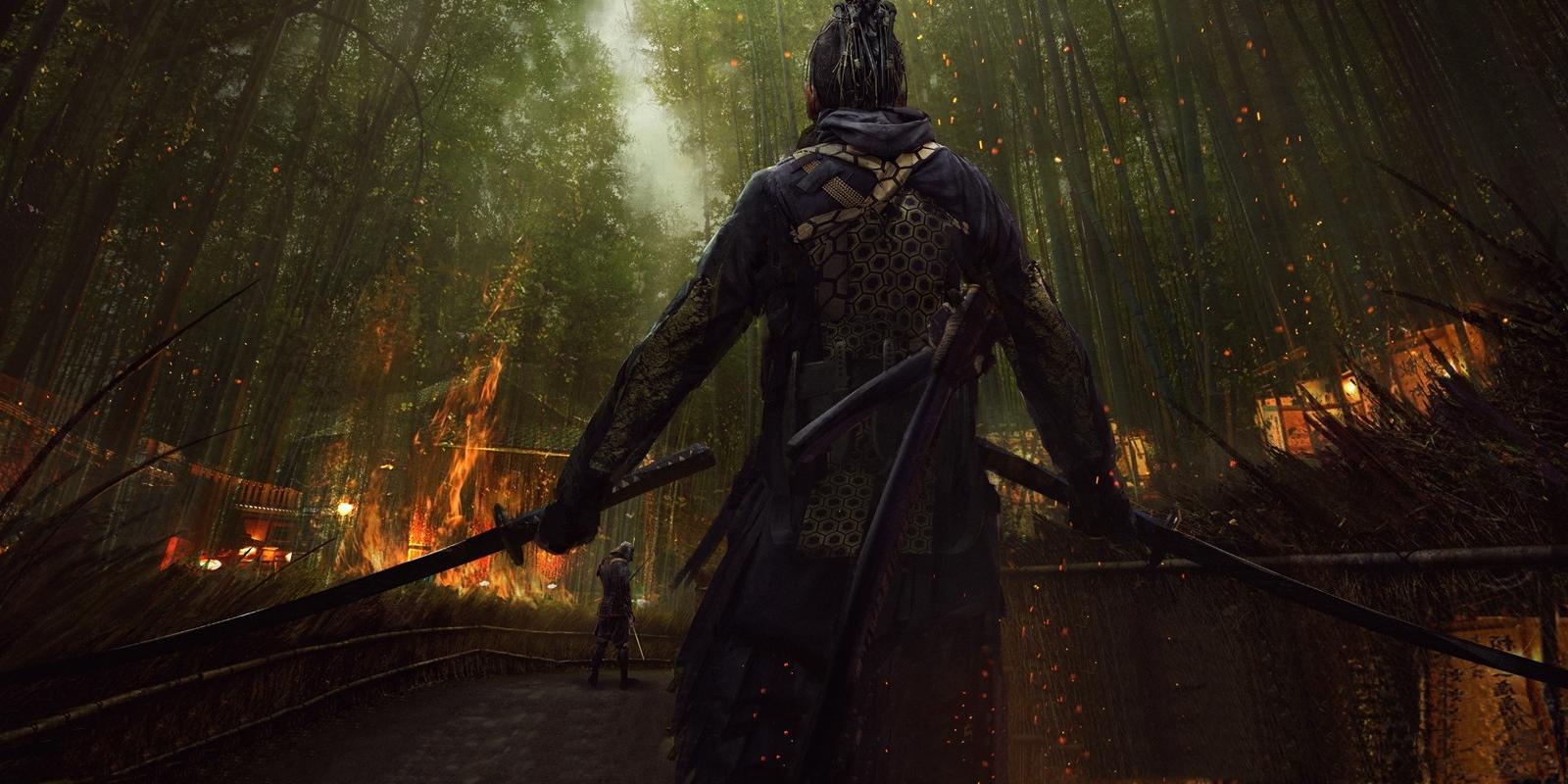 General 1600x800 artwork concept art samurai Japan fire e-mendoza sword katana back bamboo dreadlocks Eddie Mendoza
