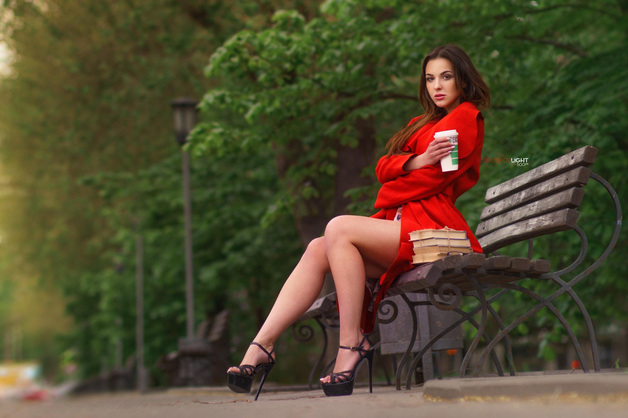 People 2048x1365 women books dress high heels park bench women outdoors Alexander Drobkov red coat sitting Public arms crossed Alisa on bench coats