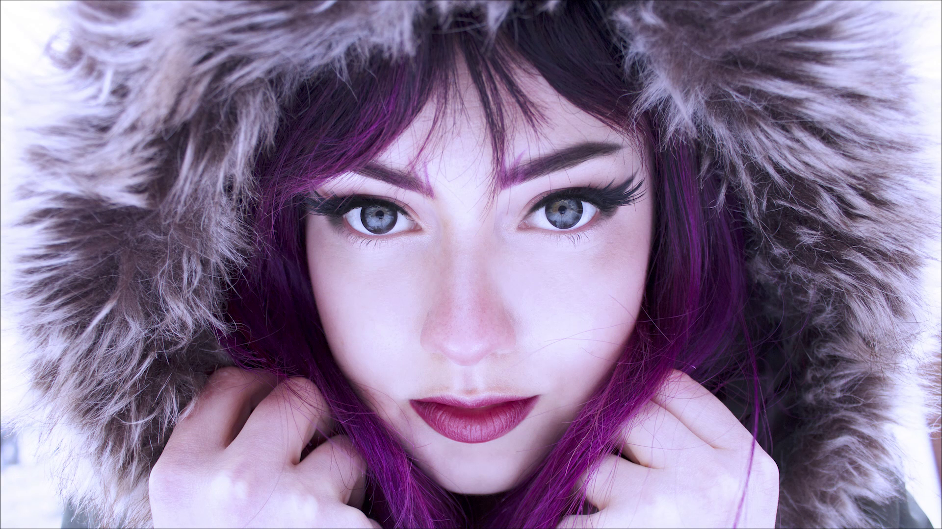 People 1920x1080 face women singer women outdoors blue eyes makeup lipstick Veela hoods violet hair