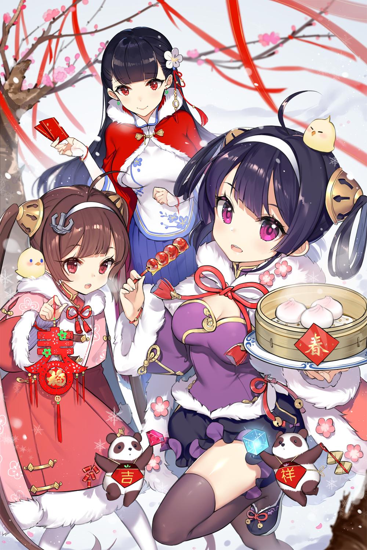 Anime 1000x1500 anime girls anime Azur Lane Ping Hai (Azur Lane) Ning Hai (Azur Lane) chinese new year