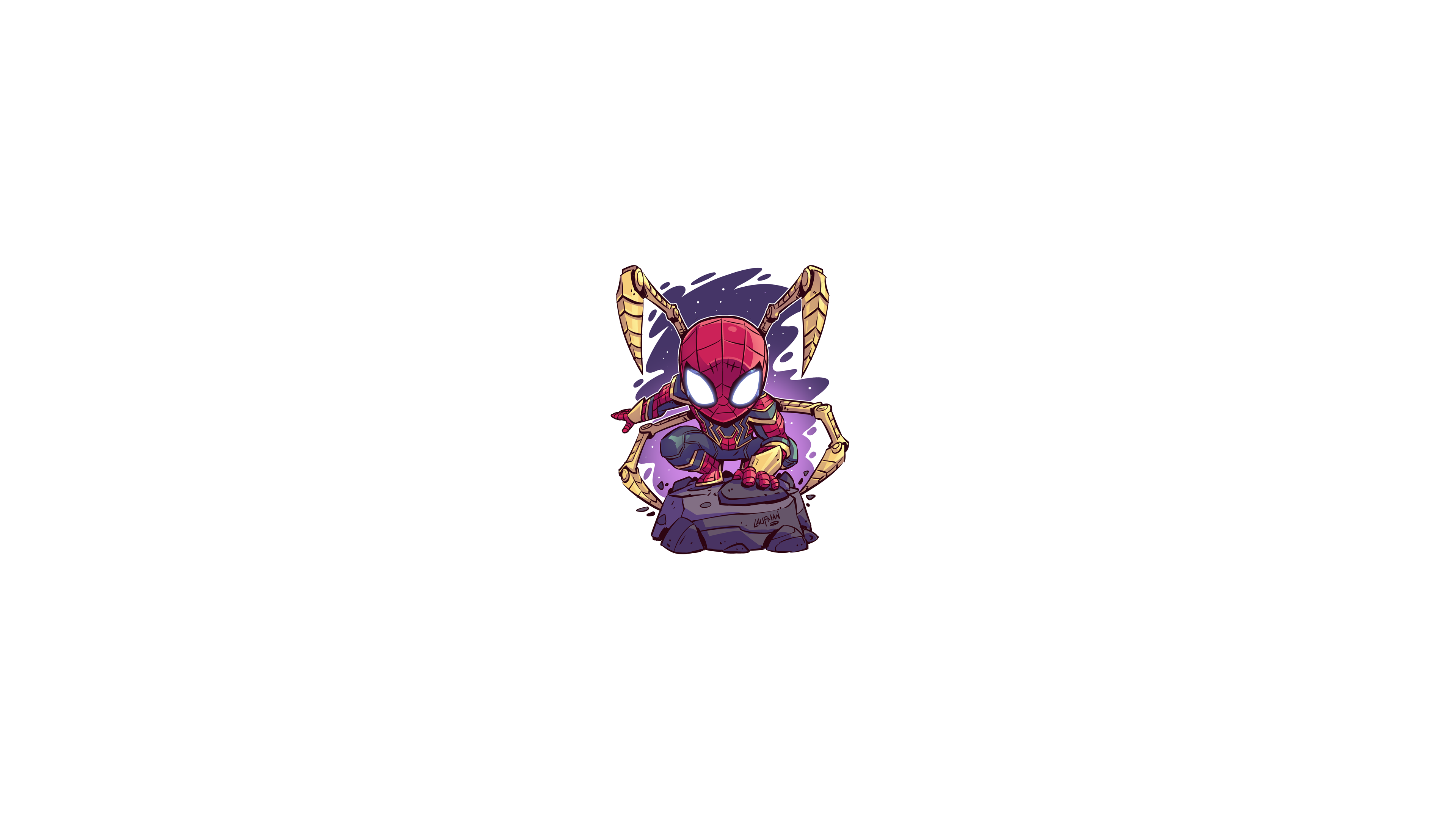 General 3840x2160 Marvel Cinematic Universe chibi minimalism Iron Spider Armor Spider-Man Marvel Comics Marvel Heroes Marvel Super Heroes Derek Laufman MCU The Avengers