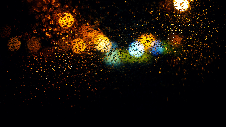 General 6000x3376 abstract rain water drops lights night circle dark raindrop bokeh photography colorful blue orange yellow black green pattern texture