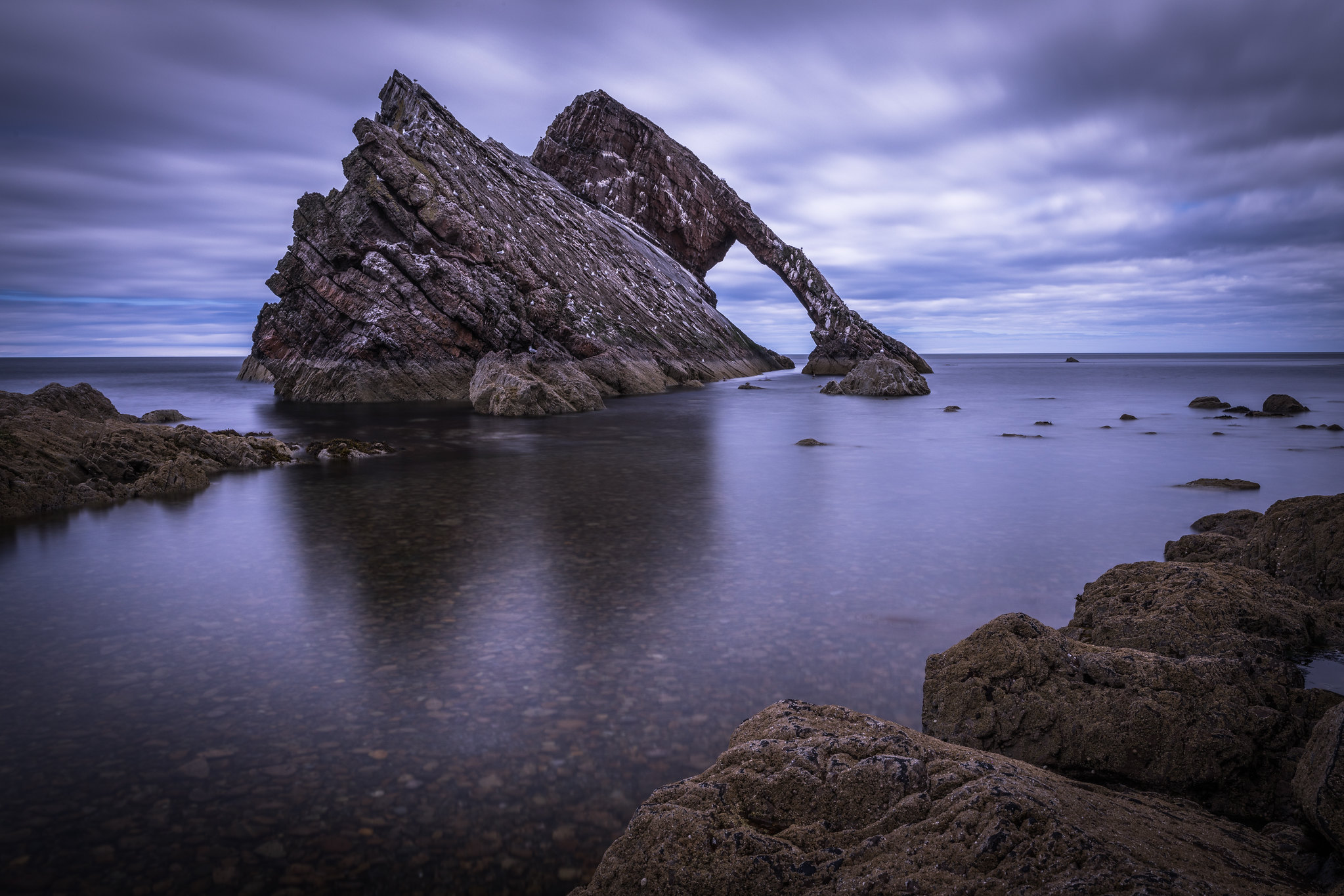 General 2047x1365 Scotland sea water rocks stones coast clouds Bow Fiddle Rock