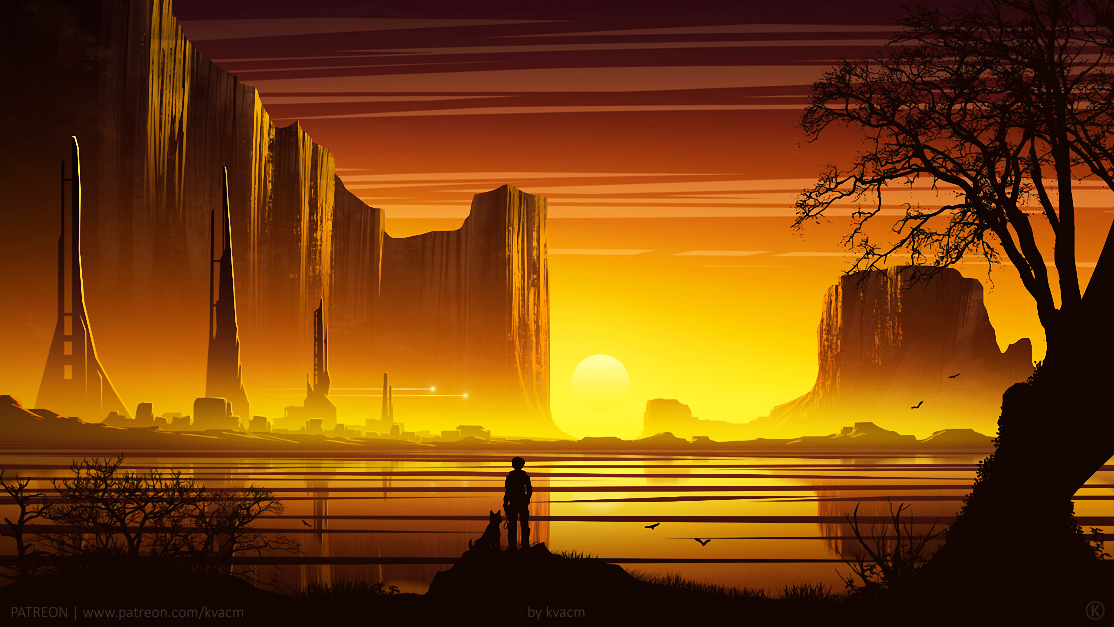 General 3840x2160 digital digital art artwork illustration landscape nature people yellow gold Sun sun rays sunset dusk evening canyon architecture trees shadow dark building town city sky skyscape yellow background water reflection outdoors lake mountains warm western fantasy art science fiction futuristic