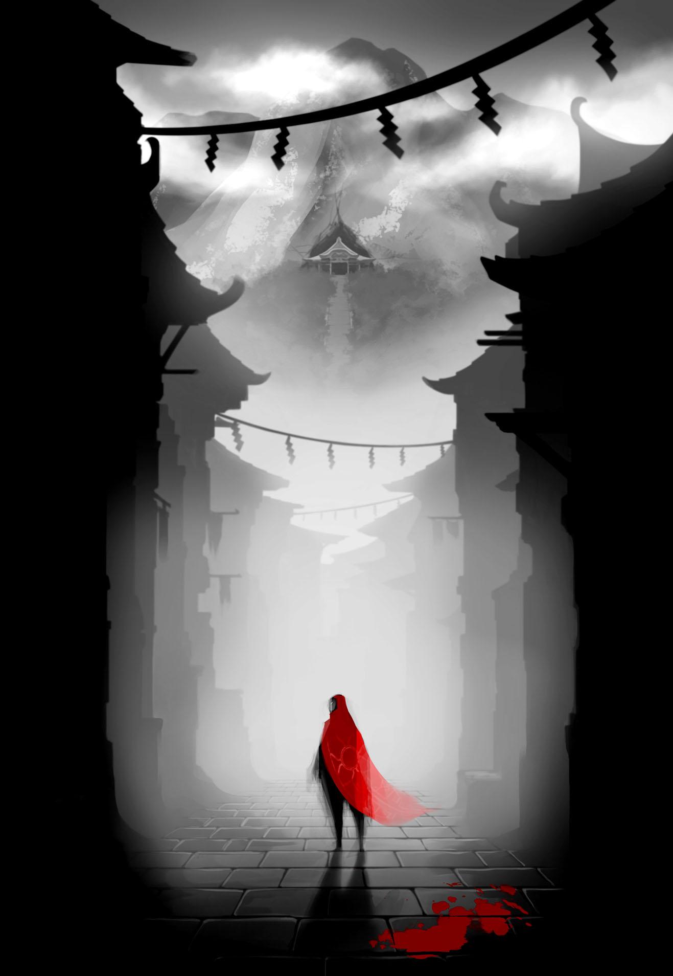 General 1317x1908 Aragami Ninja video games video game art blood mist shadow stairs temple Japanese mountain top