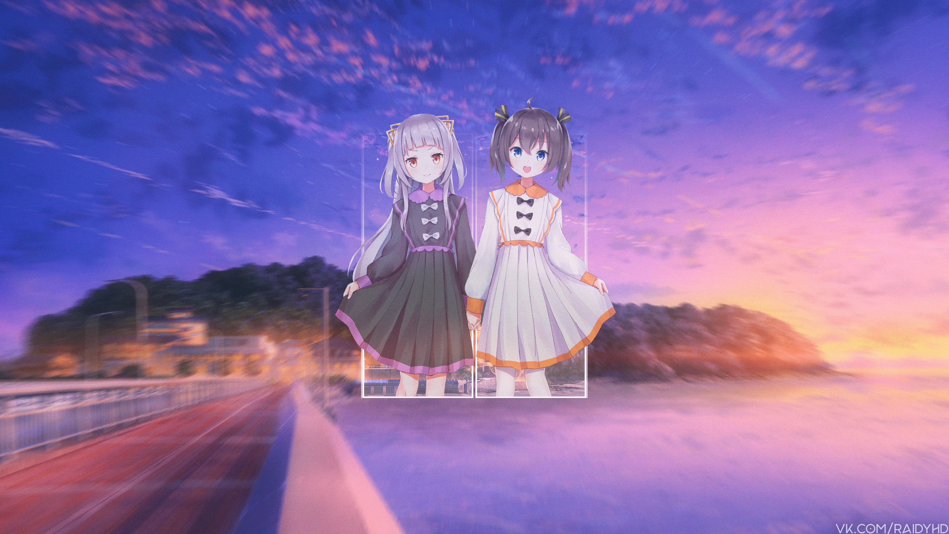 Anime 3840x2160 anime picture-in-picture anime girls sky sunlight road two women dress red eyes blue eyes standing Hololive Virtual Youtuber Natsuiro Matsuri Murasaki Shion