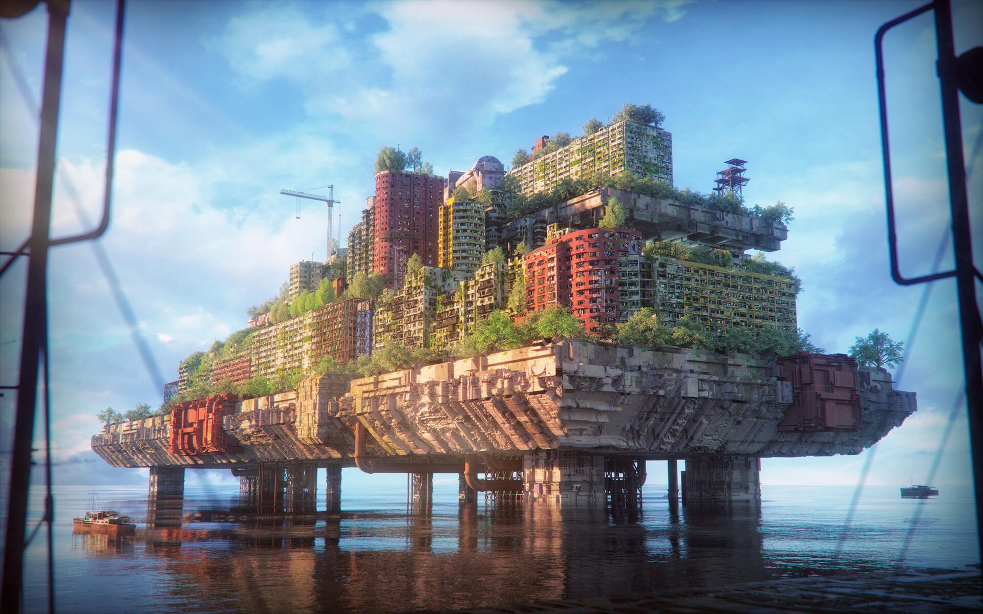 General 1920x1200 city overgrown Inward ArtStation building abandoned cranes (machine) sea