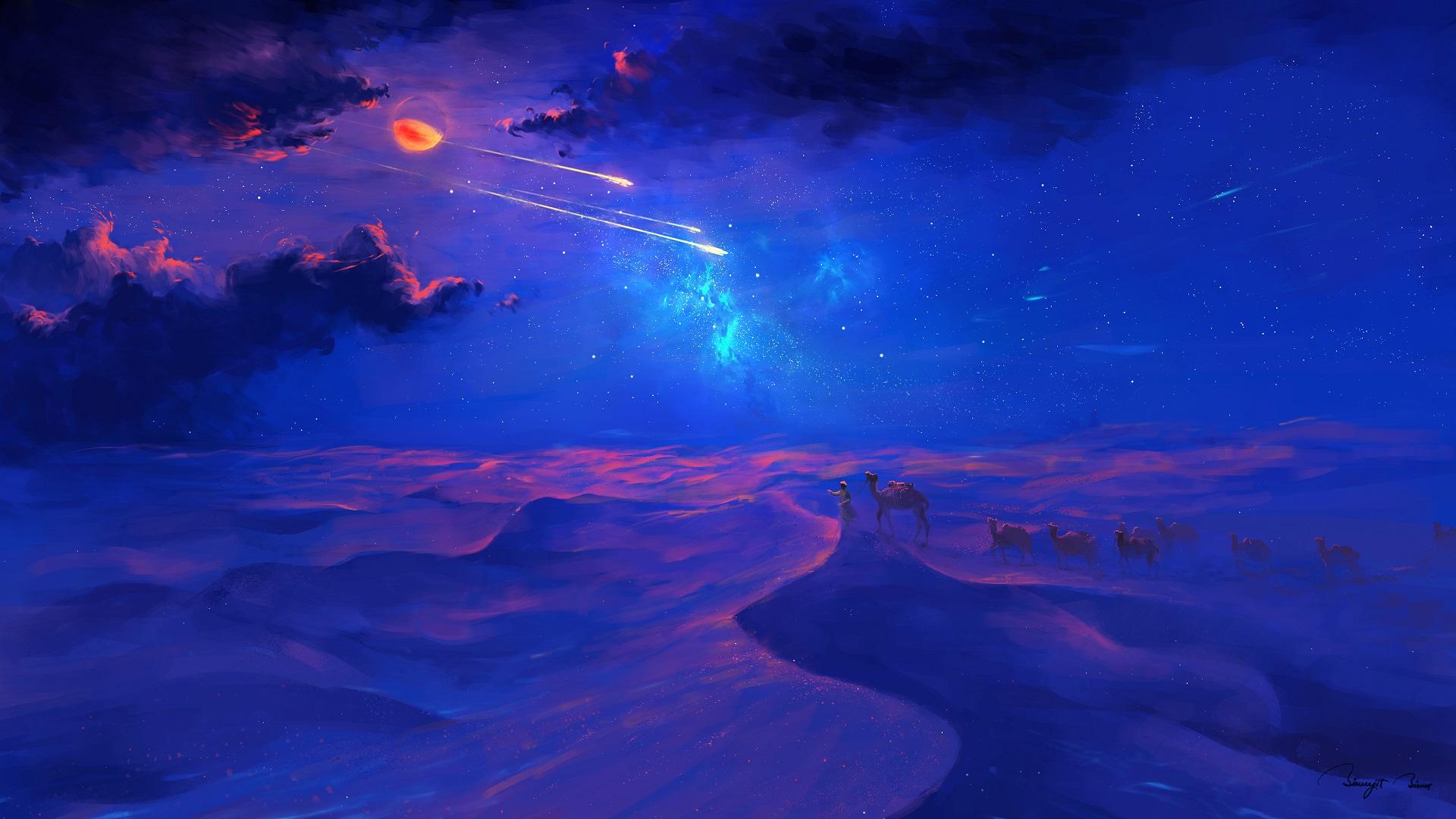 General 1920x1080 BisBiswas digital art fantasy art camels desert stars clouds shooting stars Moon lunar eclipses
