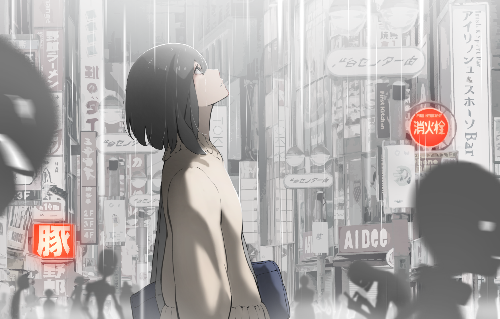 Anime 1755x1119 alone Japan street anime girls anime city sign looking up dark hair rain Hoshizaki Reita