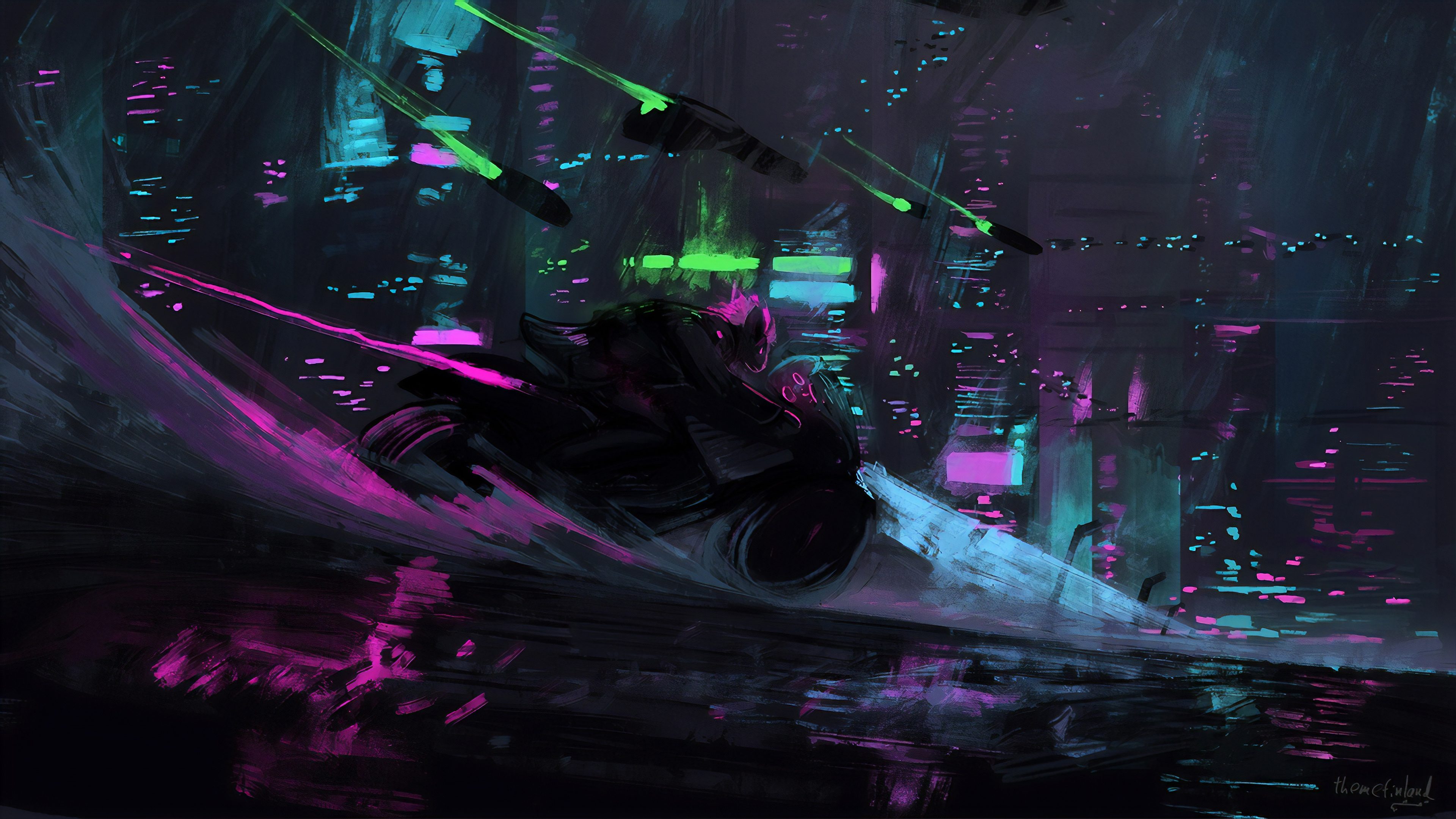 General 3840x2161 digital digital art artwork illustration drawing painting digital painting biker bikes motorcycle motorcyclist landscape city futuristic futuristic city cityscape architecture building neon neon lights city lights cyan blue purple pink dark colorful highway rain water rats science fiction spaceship cyber cyber city cyberpunk Dark Cyberpunk
