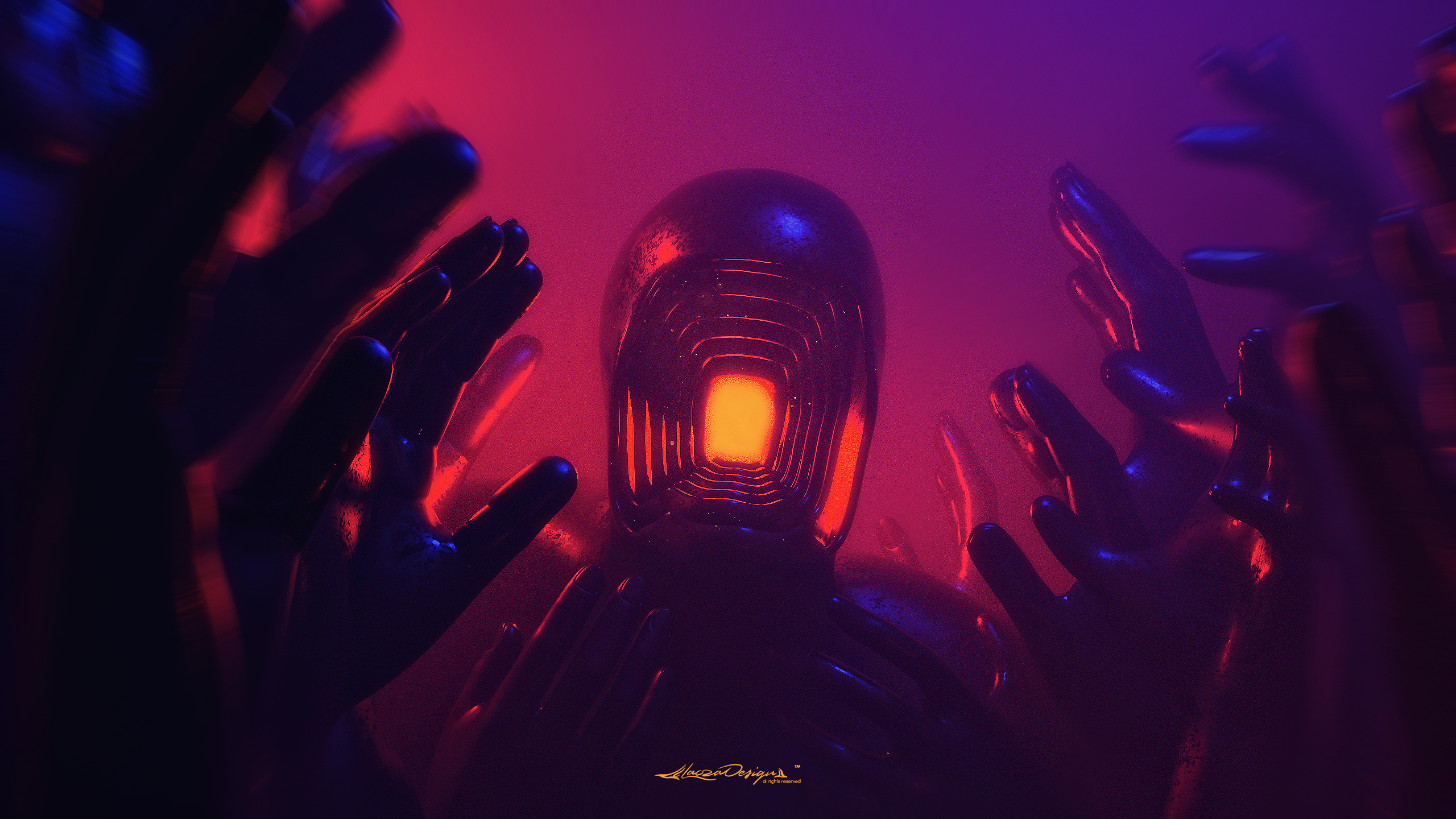 General 2560x1440 digital digital art artwork fantasy art abstract illusion 3D Abstract lights neon colorful glowing hands faceless fictional fictional character dark grunge surreal 3D 3D fractal Lacza illustration concept art environment red watermarked