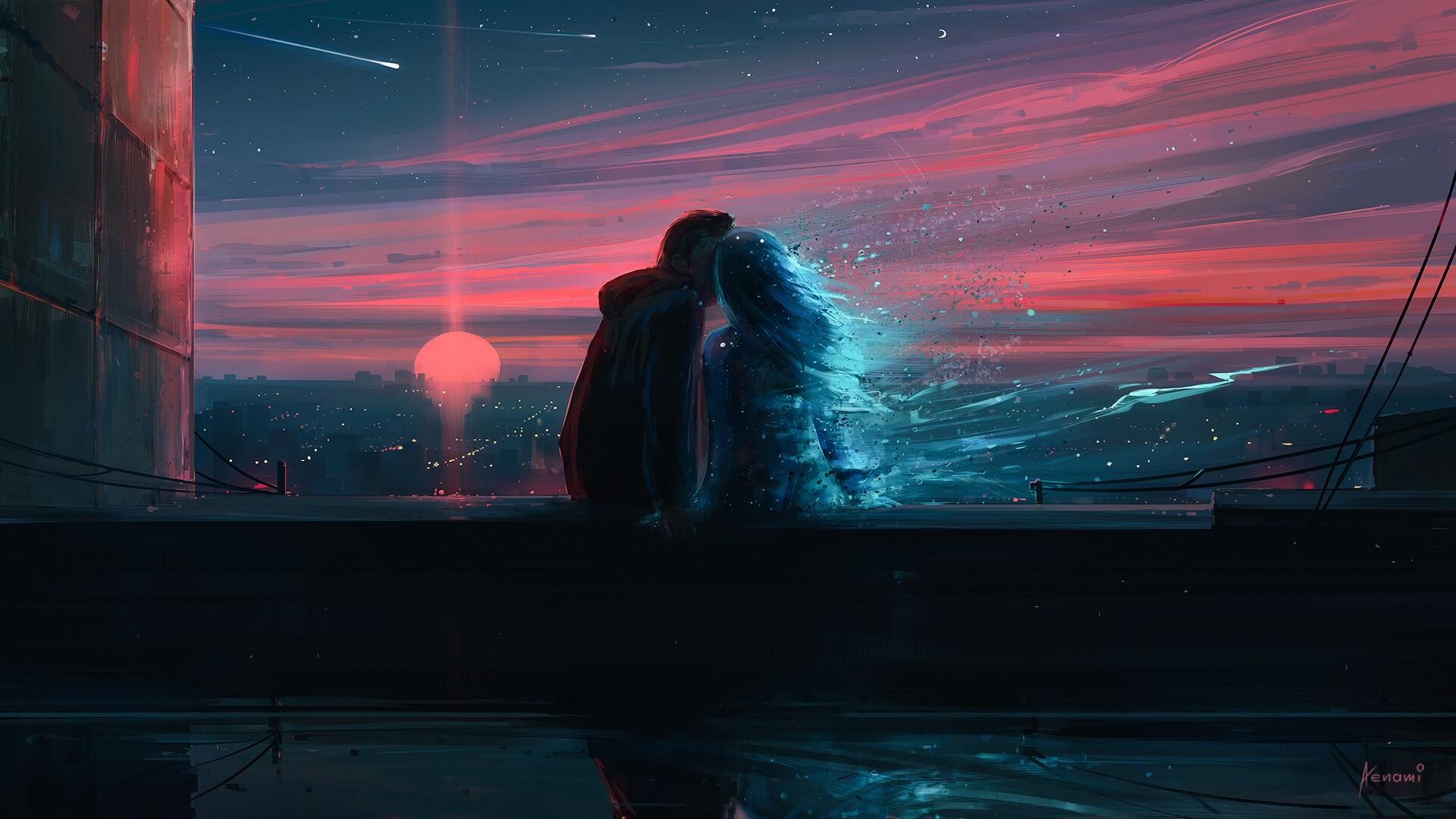 General 1920x1080 Aenami artwork digital art sunset couple shooting stars nightride