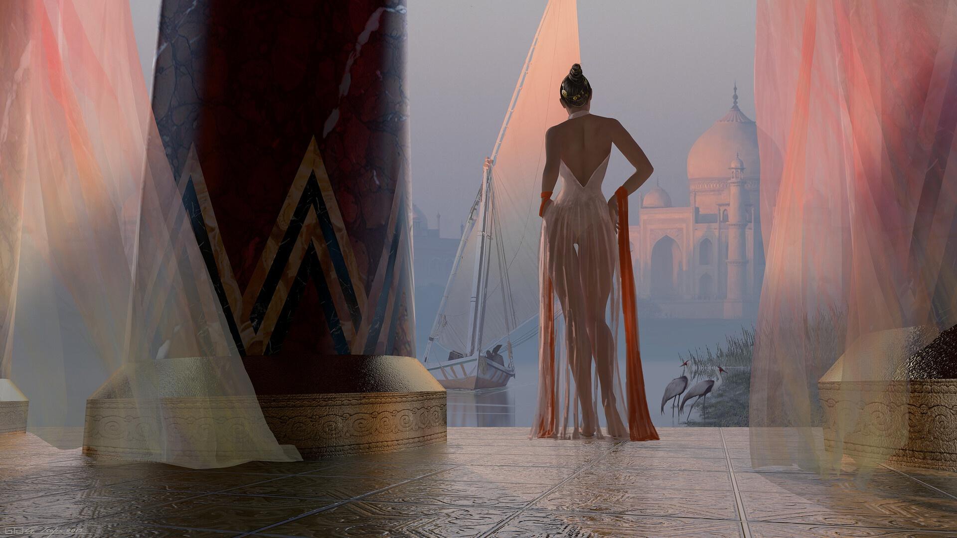 General 1920x1080 women Taj Mahal lake boat column birds back bare shoulders hairbun artwork digital art illustration India