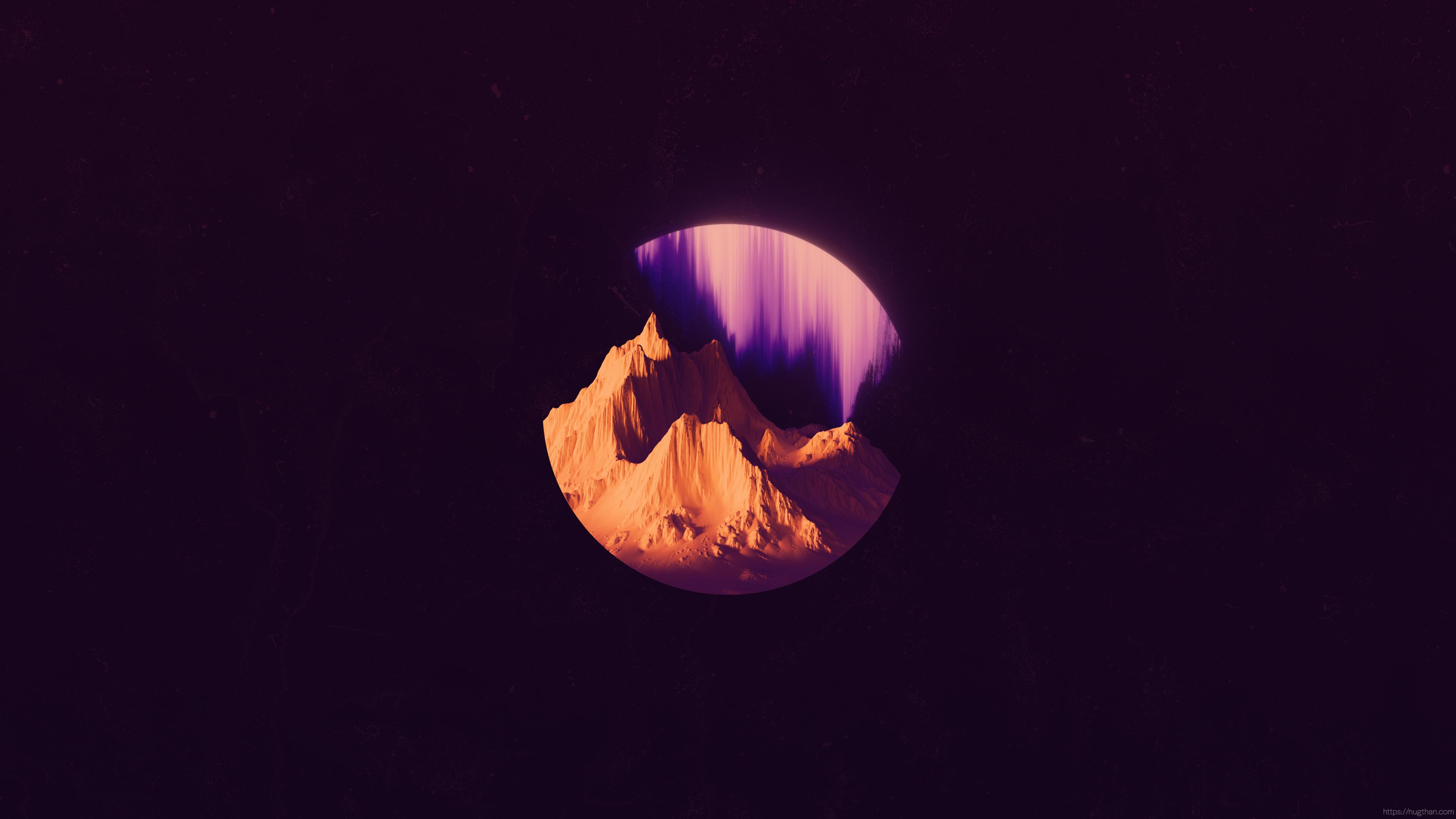 General 3840x2160 space mountains glitch art minimalism circle purple background