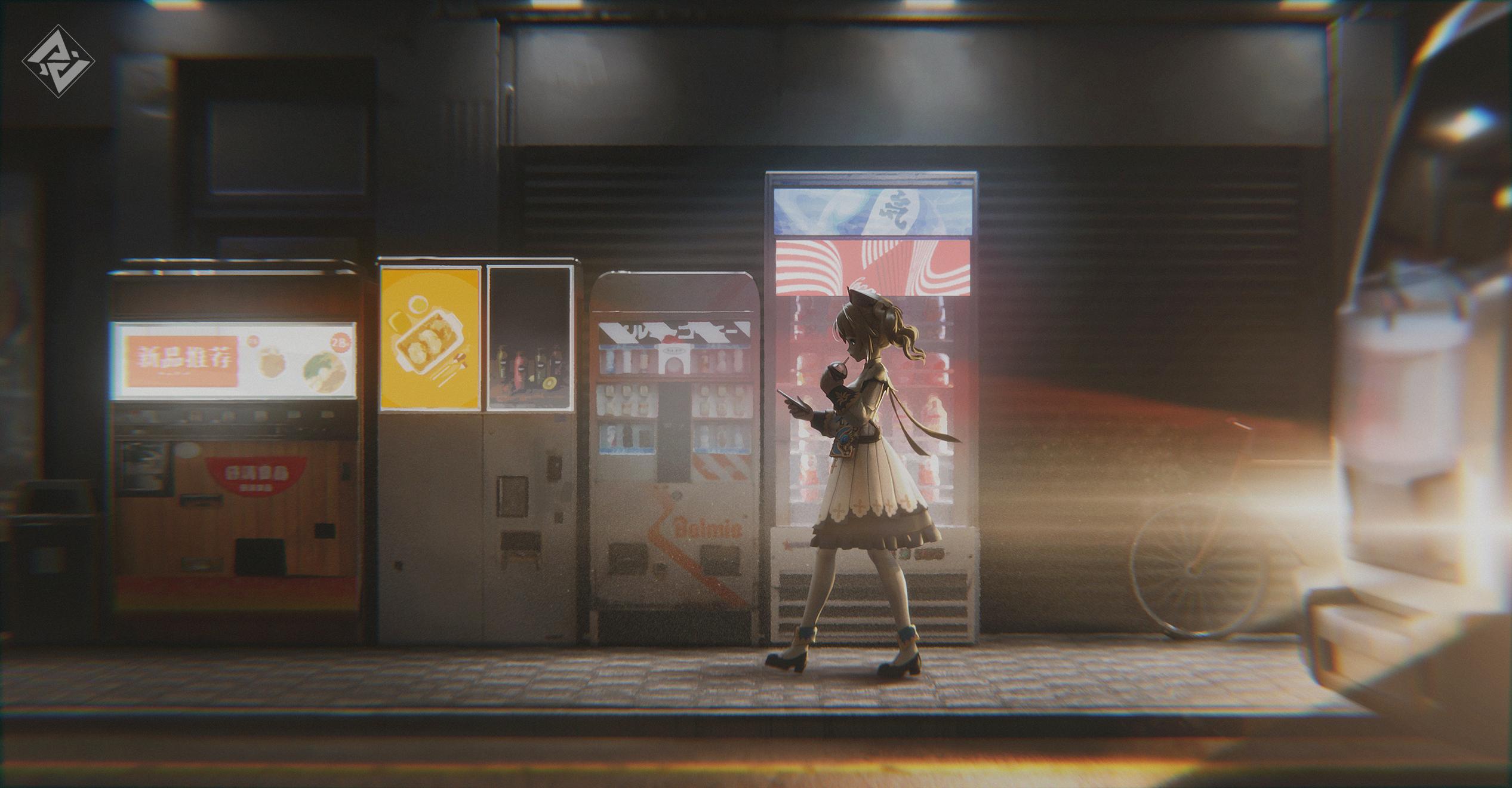 Anime 2533x1320 artwork digital art Genshin Impact barbara (genshin impact) video game characters street night light effects anime girls