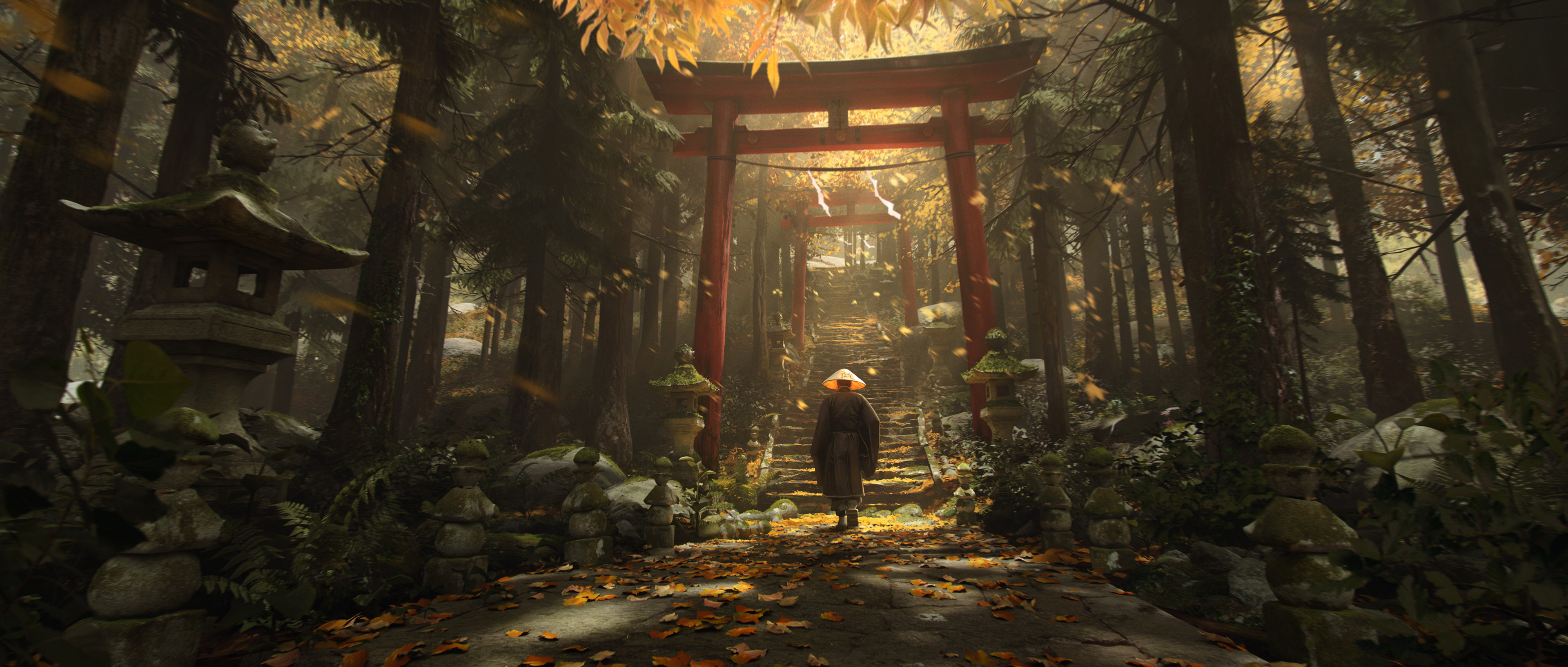 General 3840x1634 Florent Lebrun torii digital art forest Asian architecture stairs Japan Asia traditional clothing