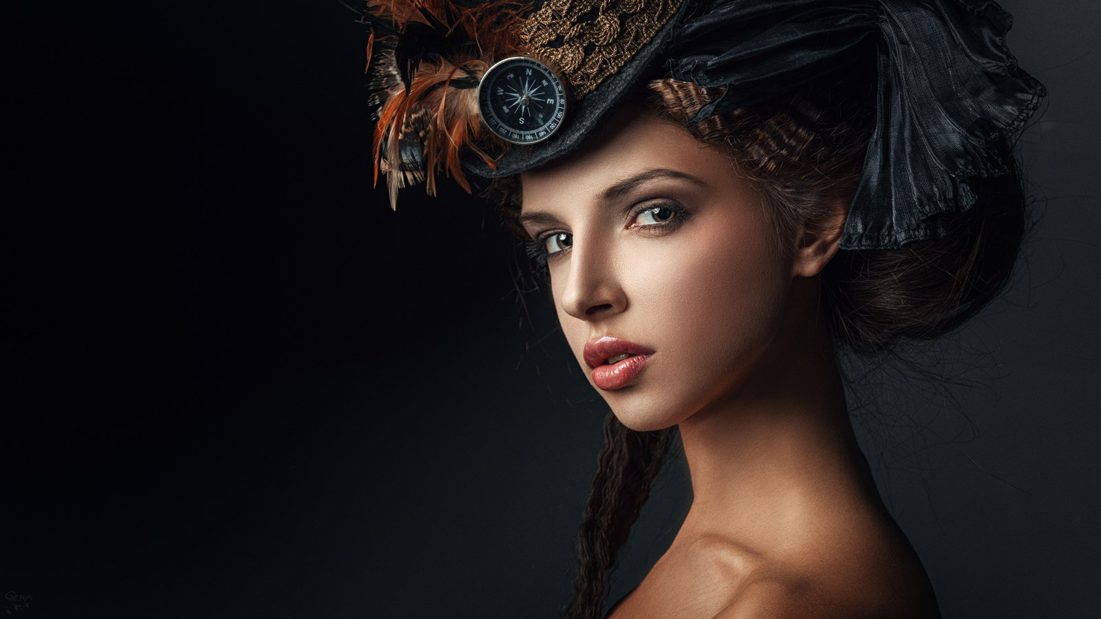 People 1600x900 indoors women model studio face simple background Georgy Chernyadyev looking at viewer portrait makeup steampunk steampunk girl compass