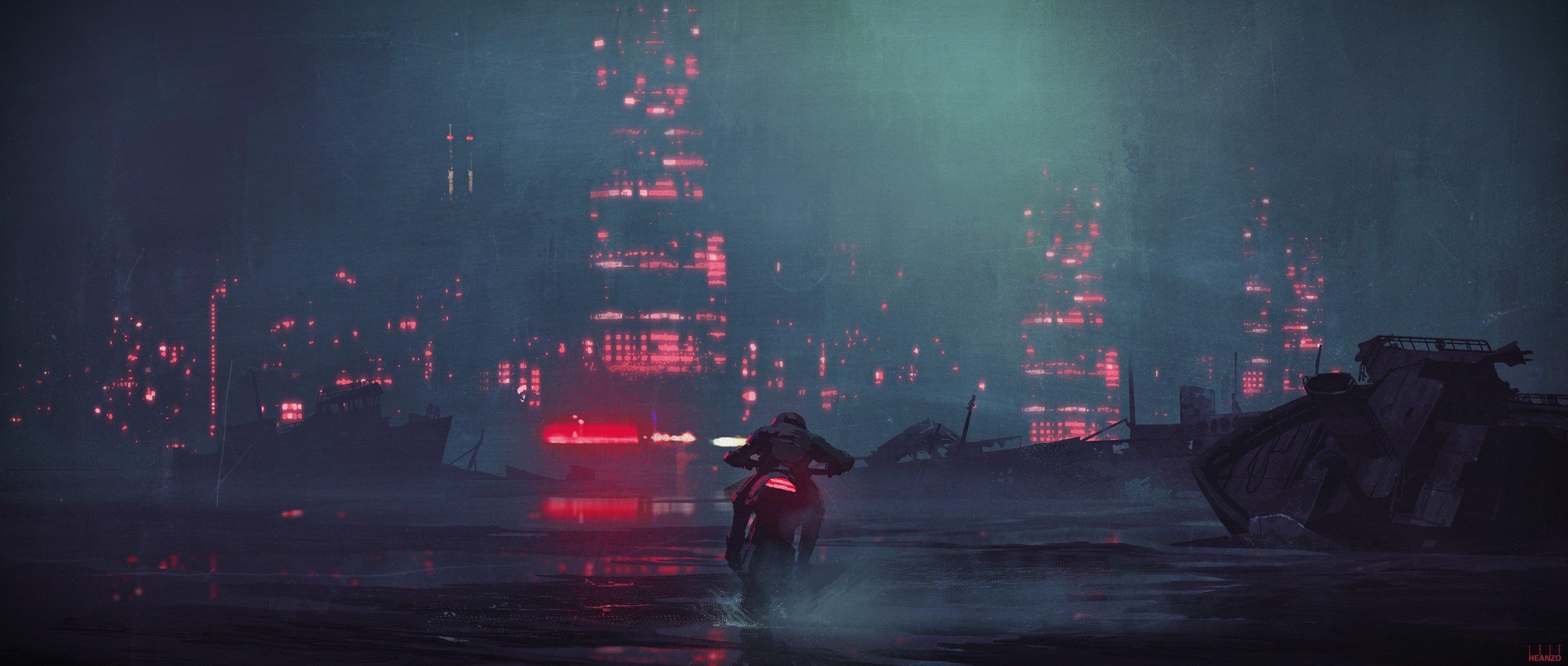 General 3840x1632 artwork digital art cityscape bikes environment ship puddle dark