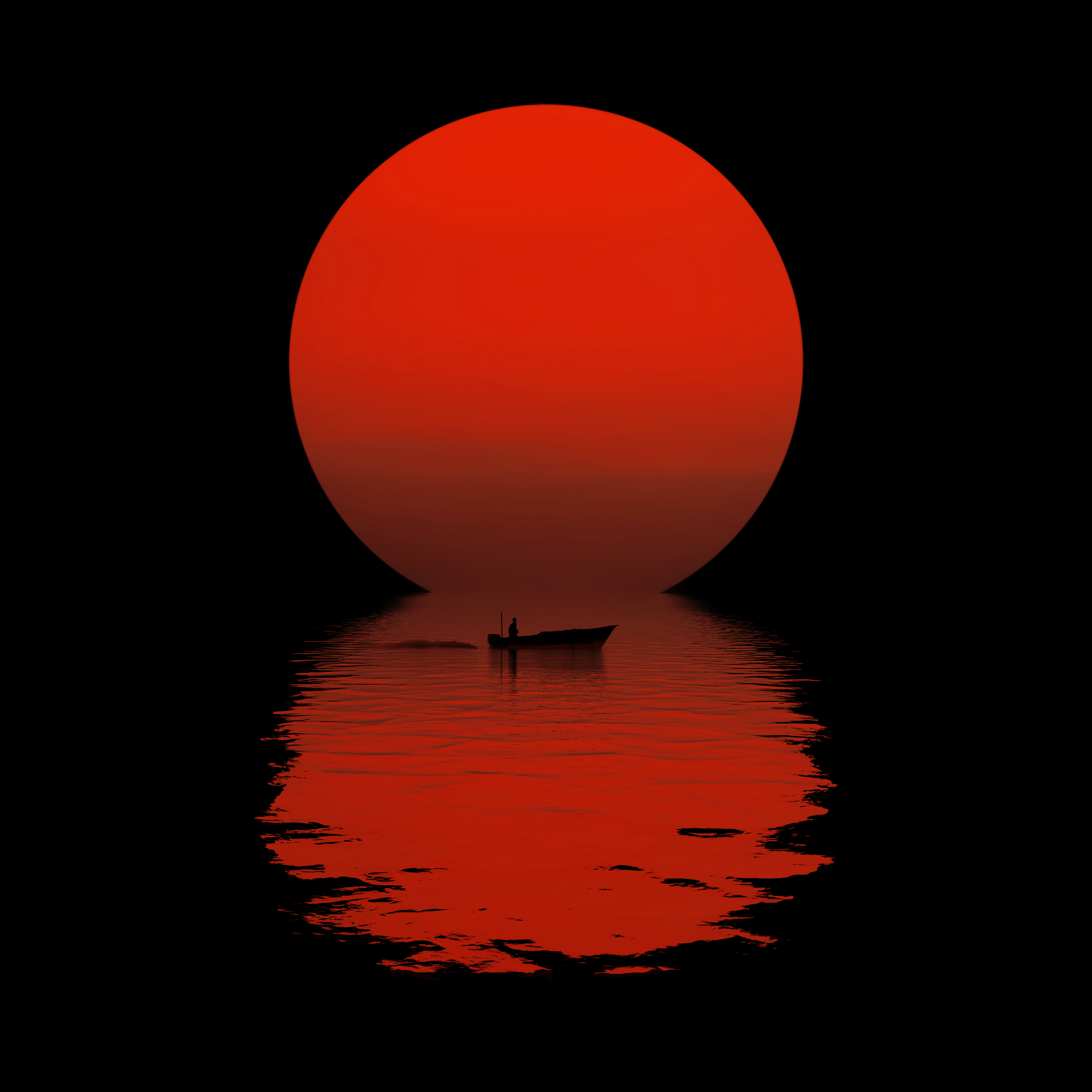 General 4500x4500 Sun black background boat dark minimalism sea simple background artwork
