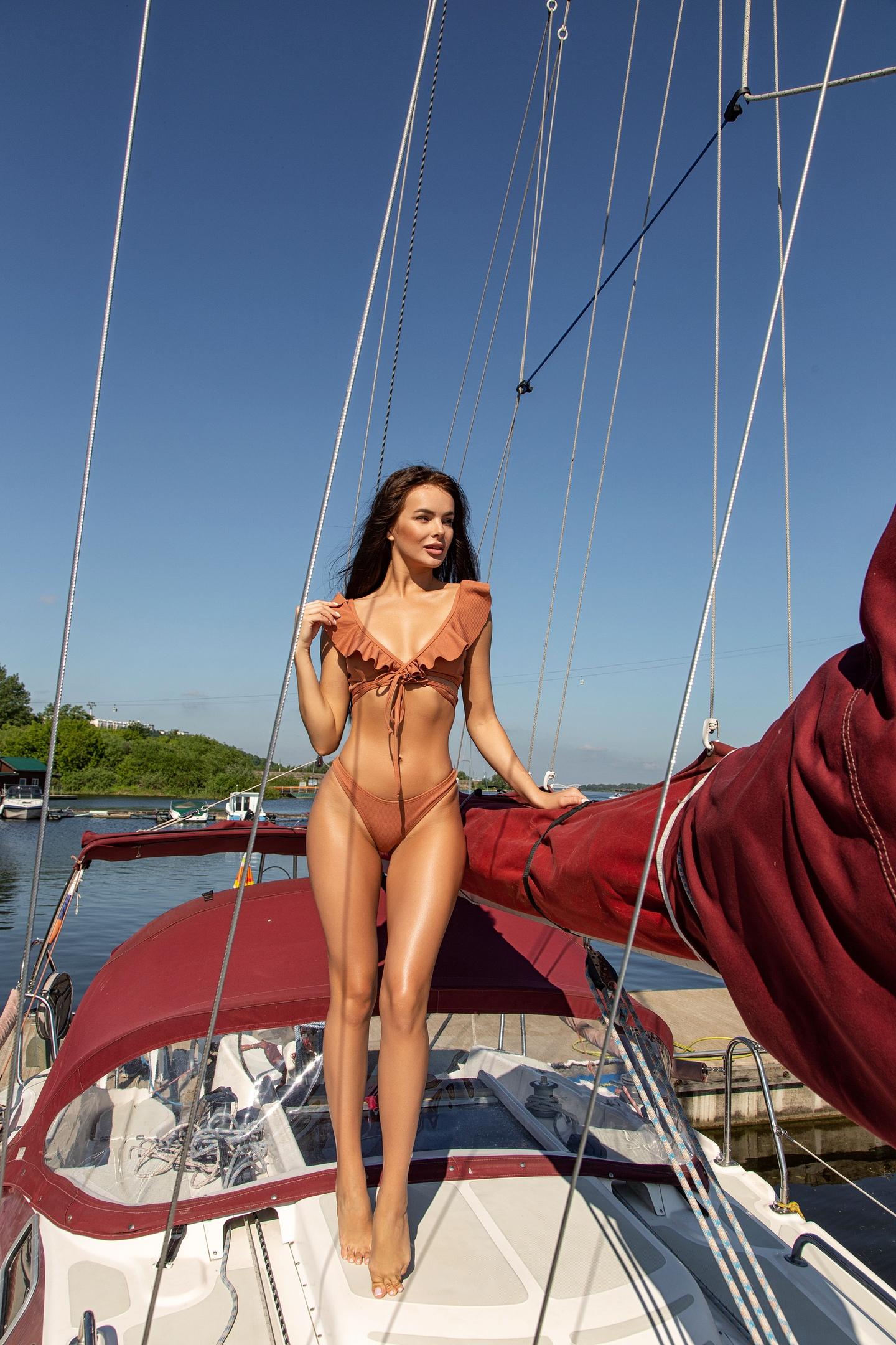 People 1440x2160 women brunette bikini yacht women outdoors water long hair the gap Kristina Borisova