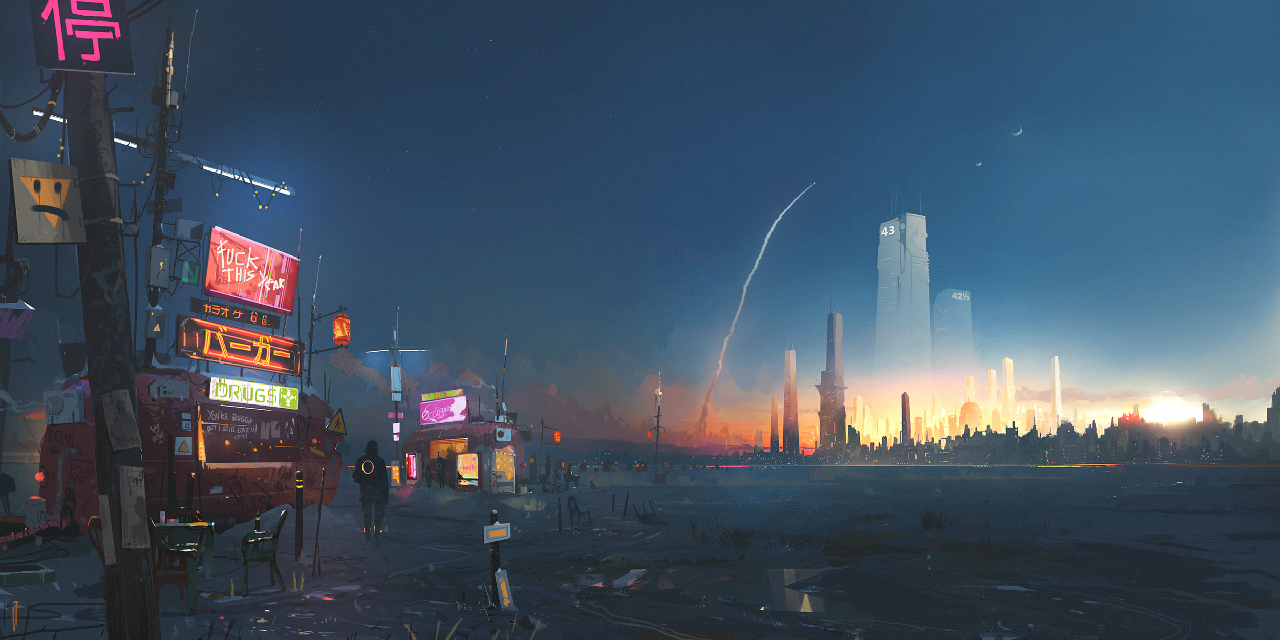 General 2500x1250 artwork digital art cityscape building science fiction Ismail Inceoglu cyberpunk futuristic city rocket road sign sunset