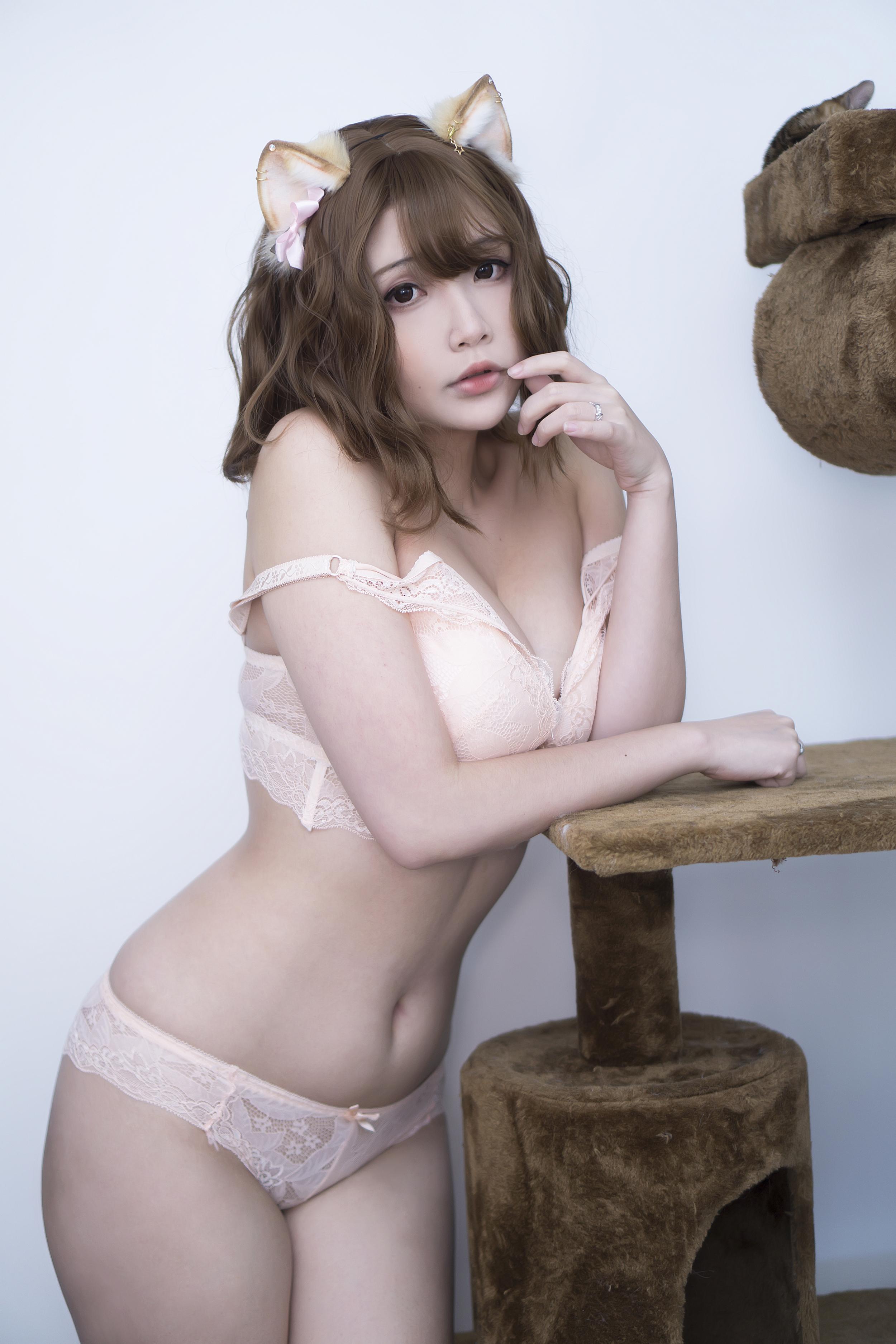 People 2500x3750 Hana Bunny women model Asian cosplay cat girl nekomimi cat ears underwear lingerie bra panties indoors women indoors bare shoulders sensual gaze bangs looking at viewer parted lips