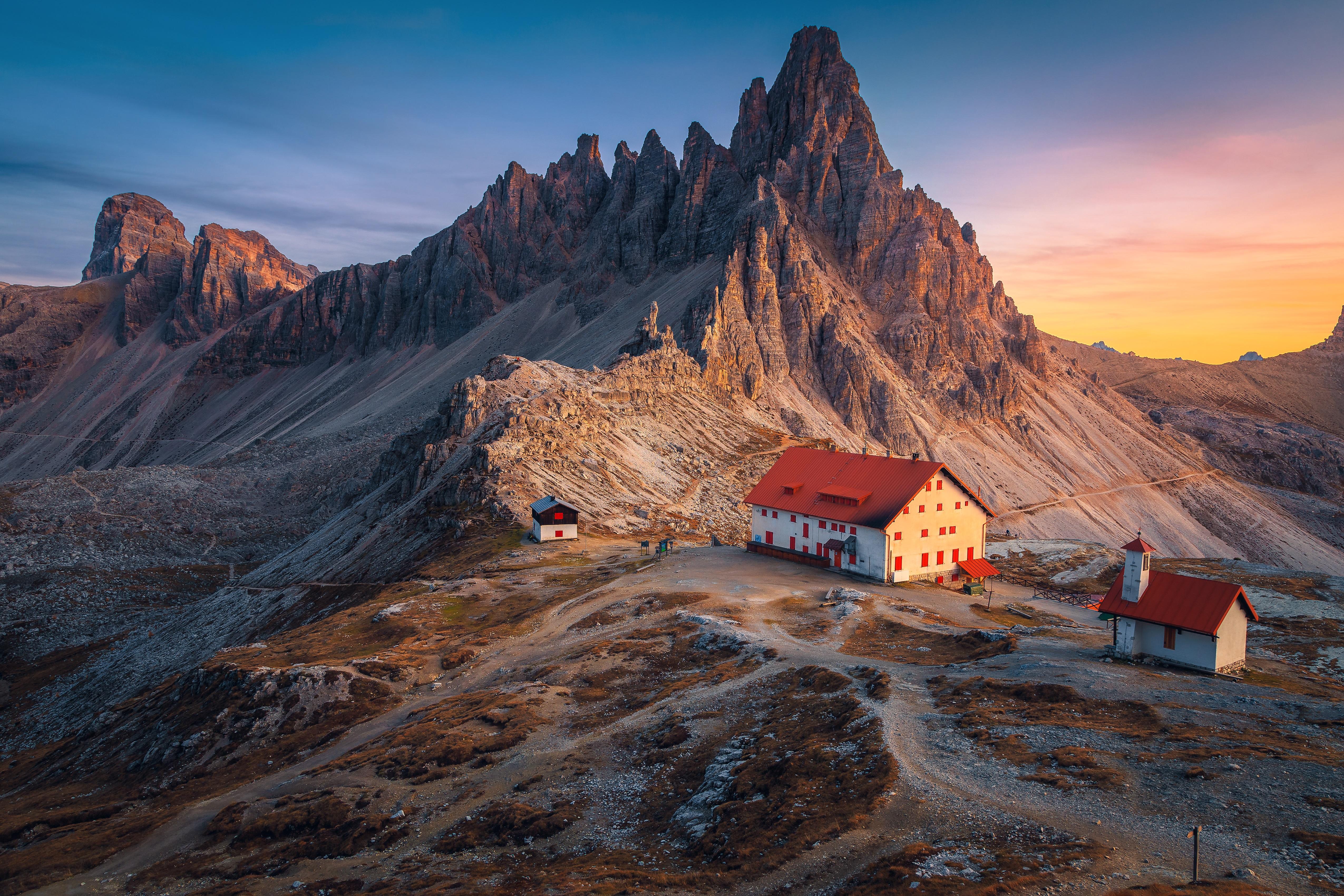 General 5100x3400 landscape mountains nature stone sky house Alps summit path hills peak sunlight sunset hut Italy lights dolomite alps