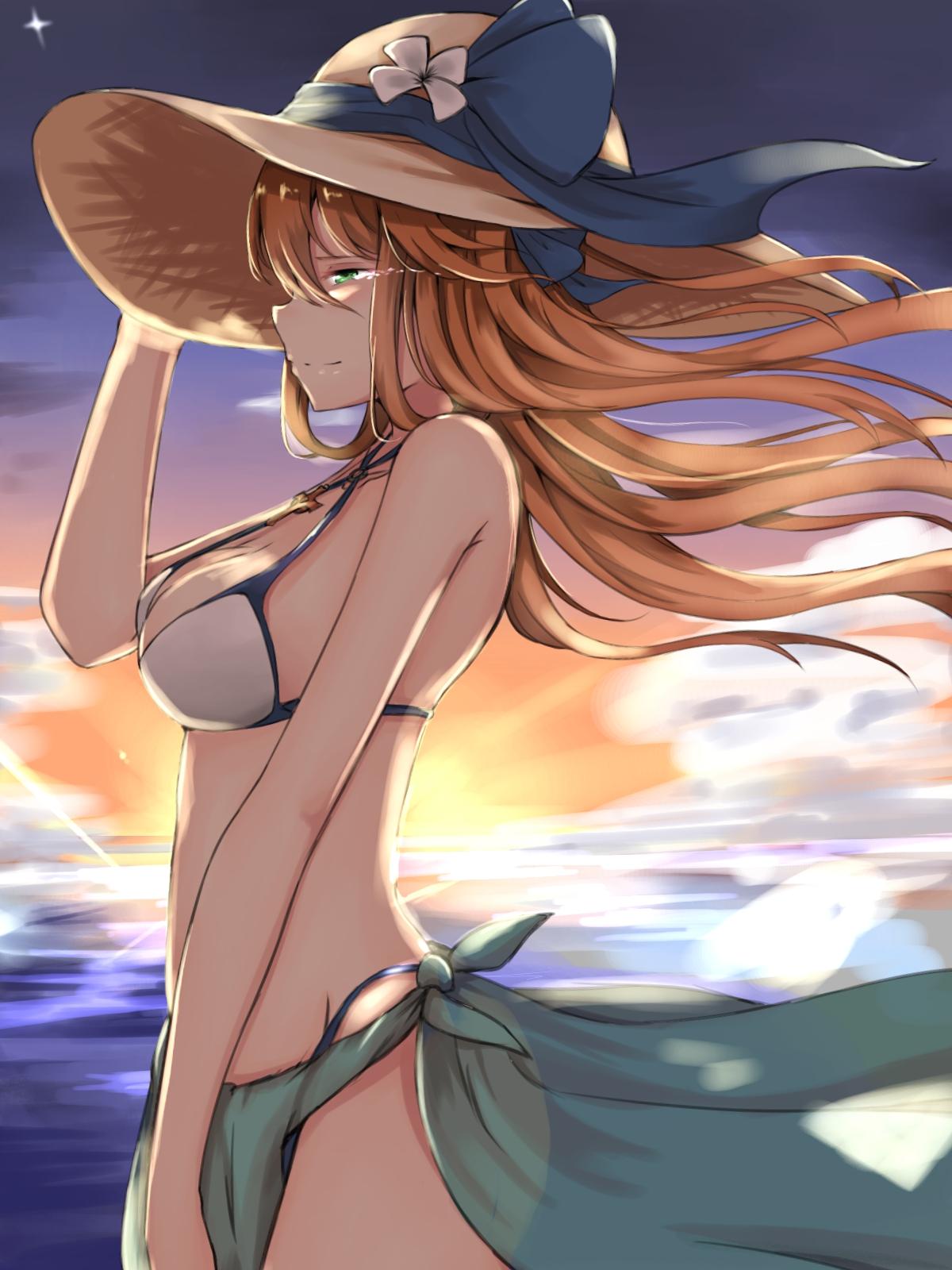Anime 1200x1600 Springfield (Girls Frontline) Girls Frontline bikini green eyes