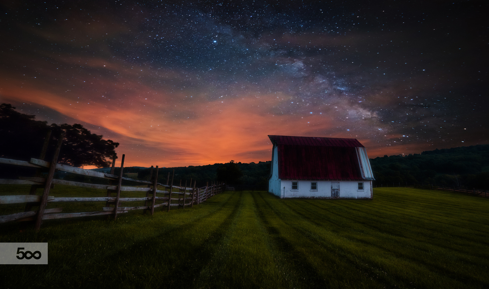 General 2048x1214 nature landscape starry night fence pasture