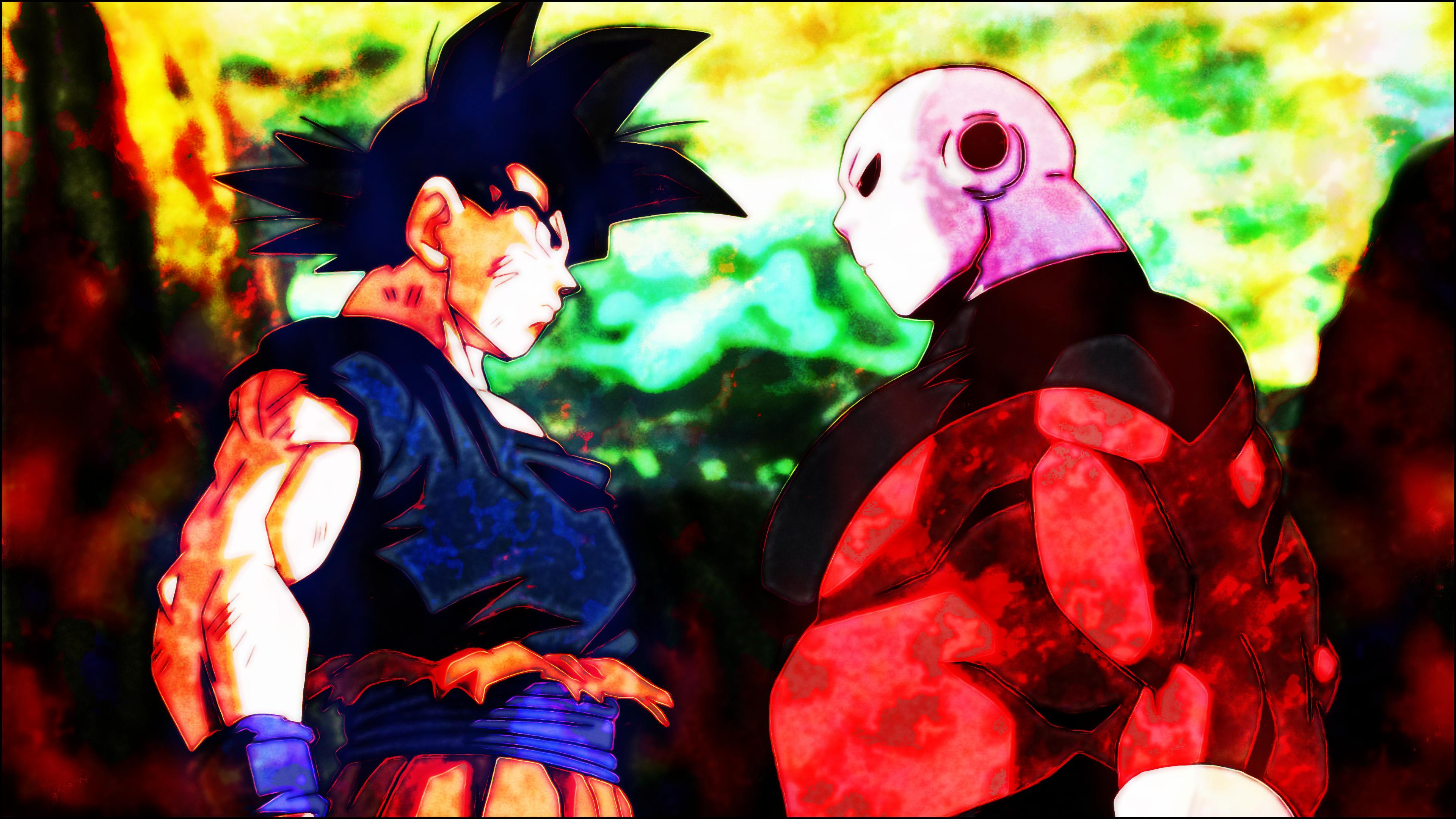 Anime 3840x2160 jiren the gray jiren Son Goku Dragon Ball Dragon Ball Super brightness Super Saiyan God Ultra-Instinct Goku