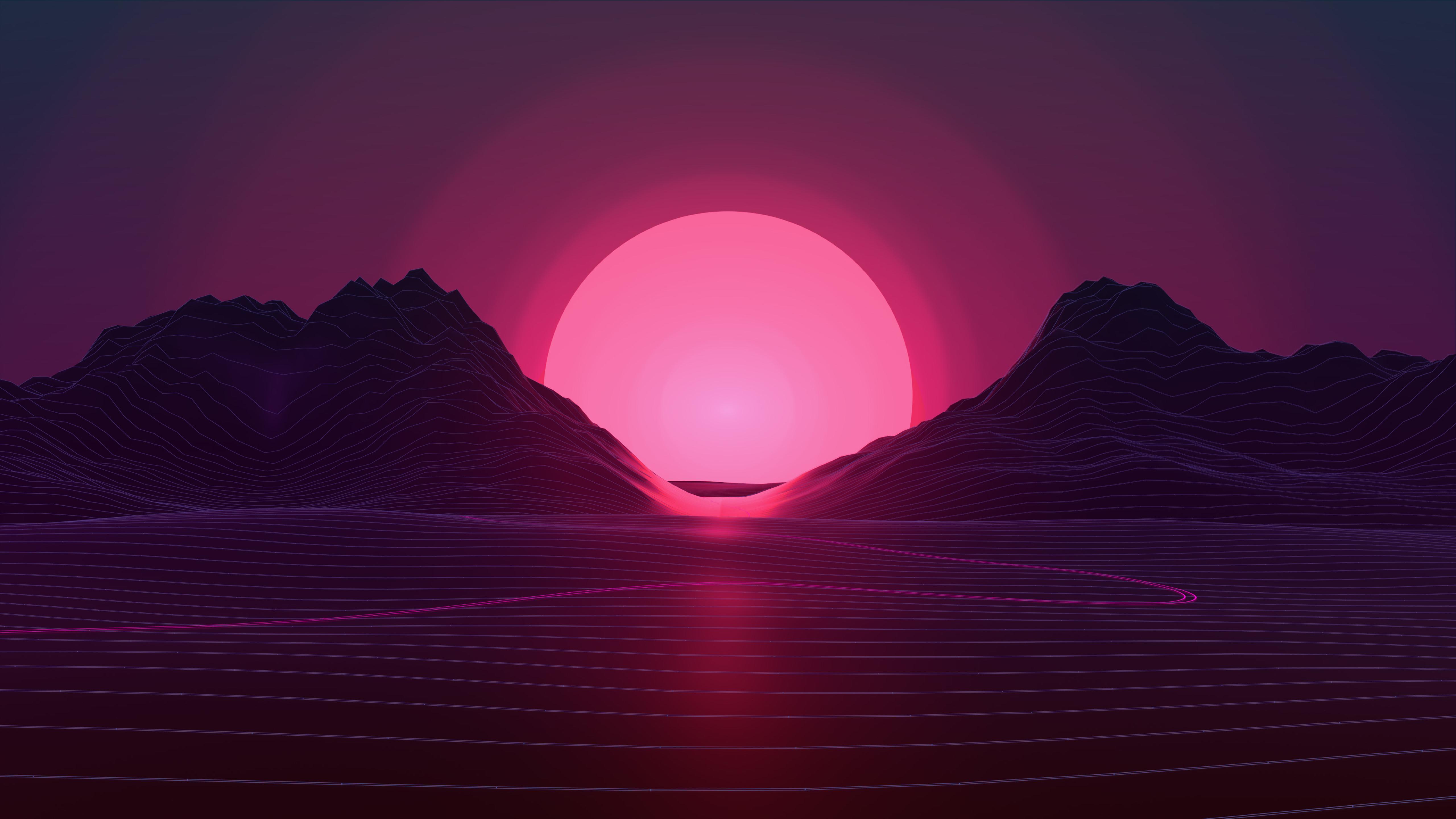 General 5120x2880 retrowave mountains purple sunrise sunset purple background pink abstract vaporwave