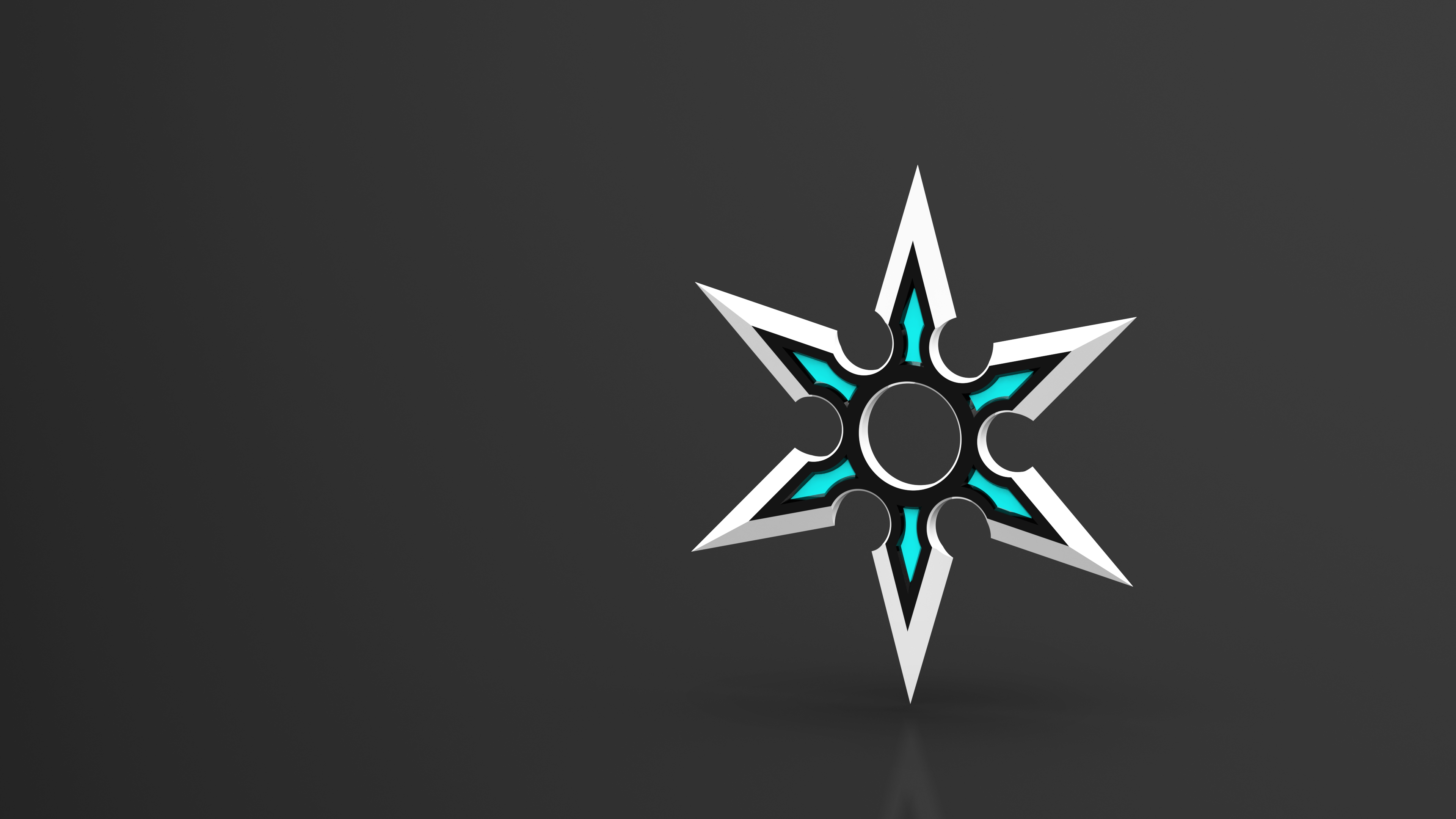 General 3840x2160 3D stars cyan gray background gray simple