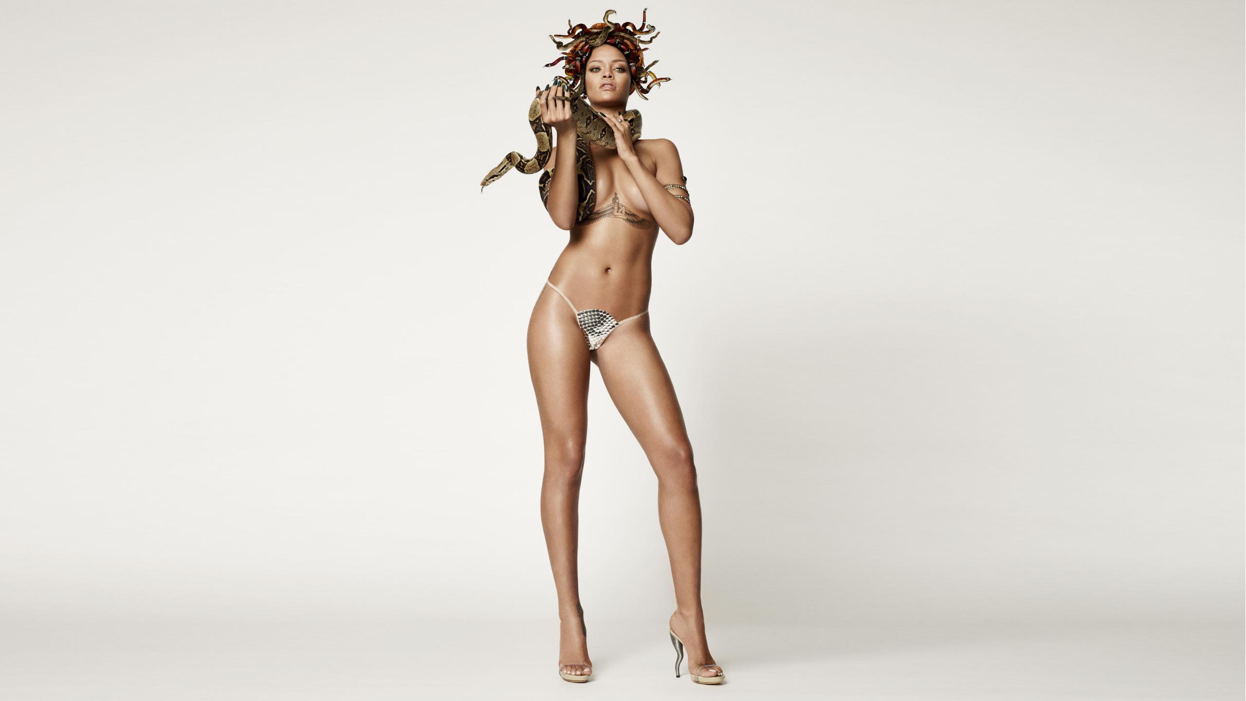 People 2560x1440 Rihanna women snake celebrity panties reptiles cleavage ebony