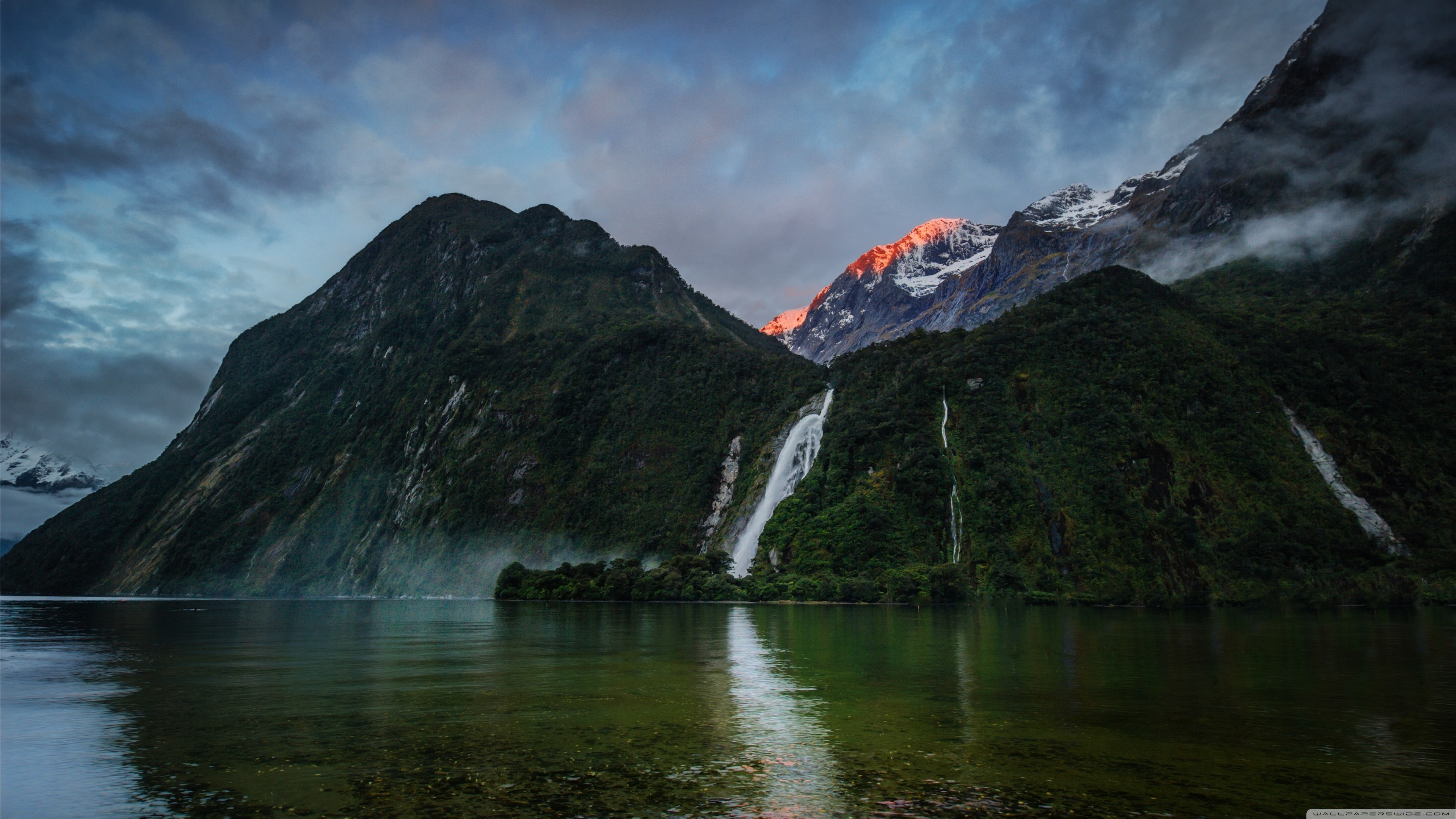 General 3840x2160 landscape nature Fiordland National Park New Zealand waterfall mountains