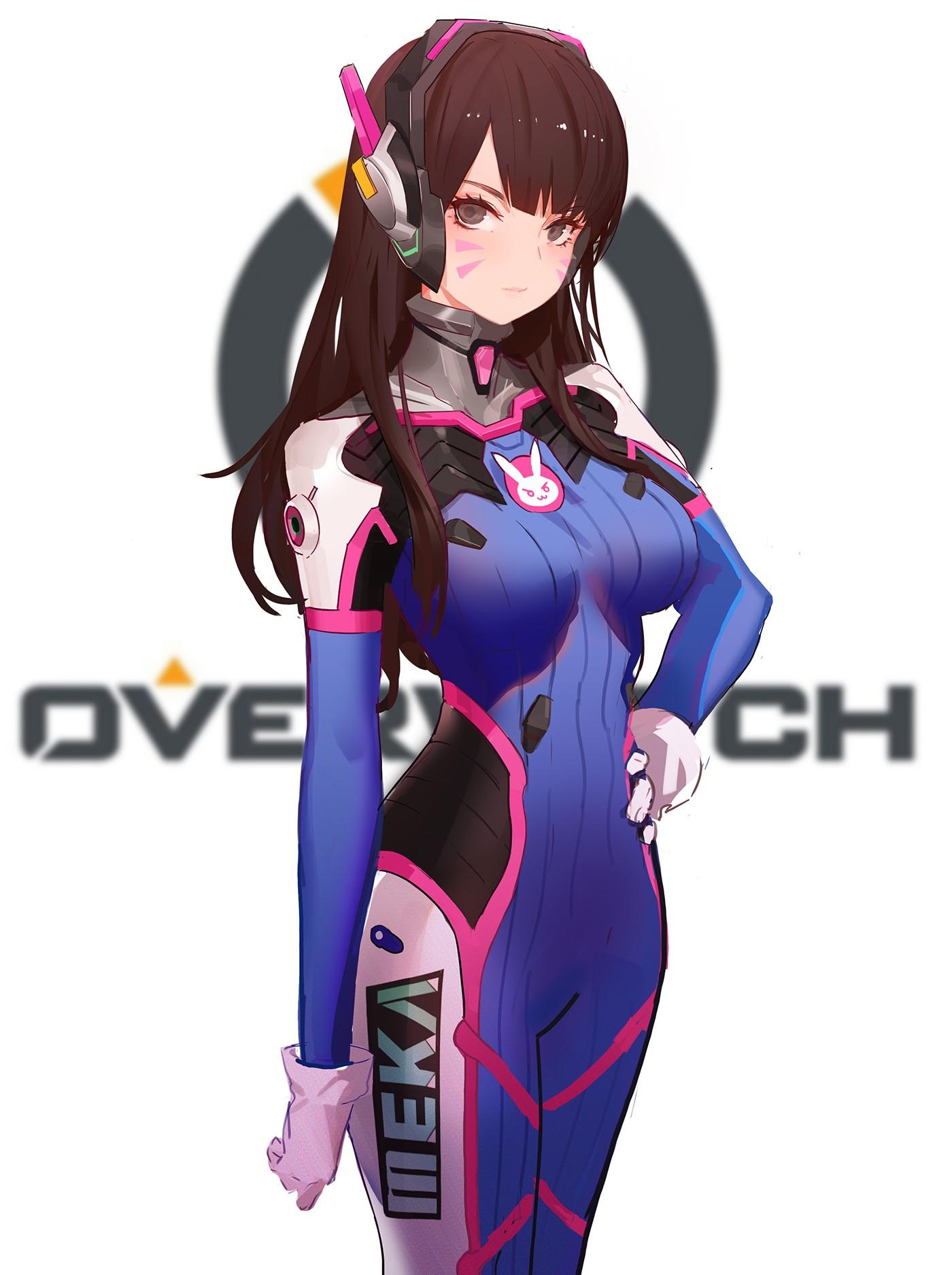 Anime 1400x1875 anime anime girls Overwatch D.Va (Overwatch) bodysuit headphones long hair