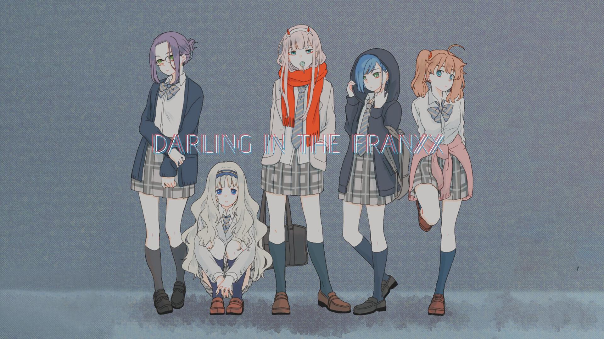 Anime 1920x1080 Darling in the FranXX anime girls Ichigo (Darling in the FranXX) Zero Two (Darling in the FranXX) Code:196 (Ikuno) Code:556 (Kokoro) Code:390 (Miku)