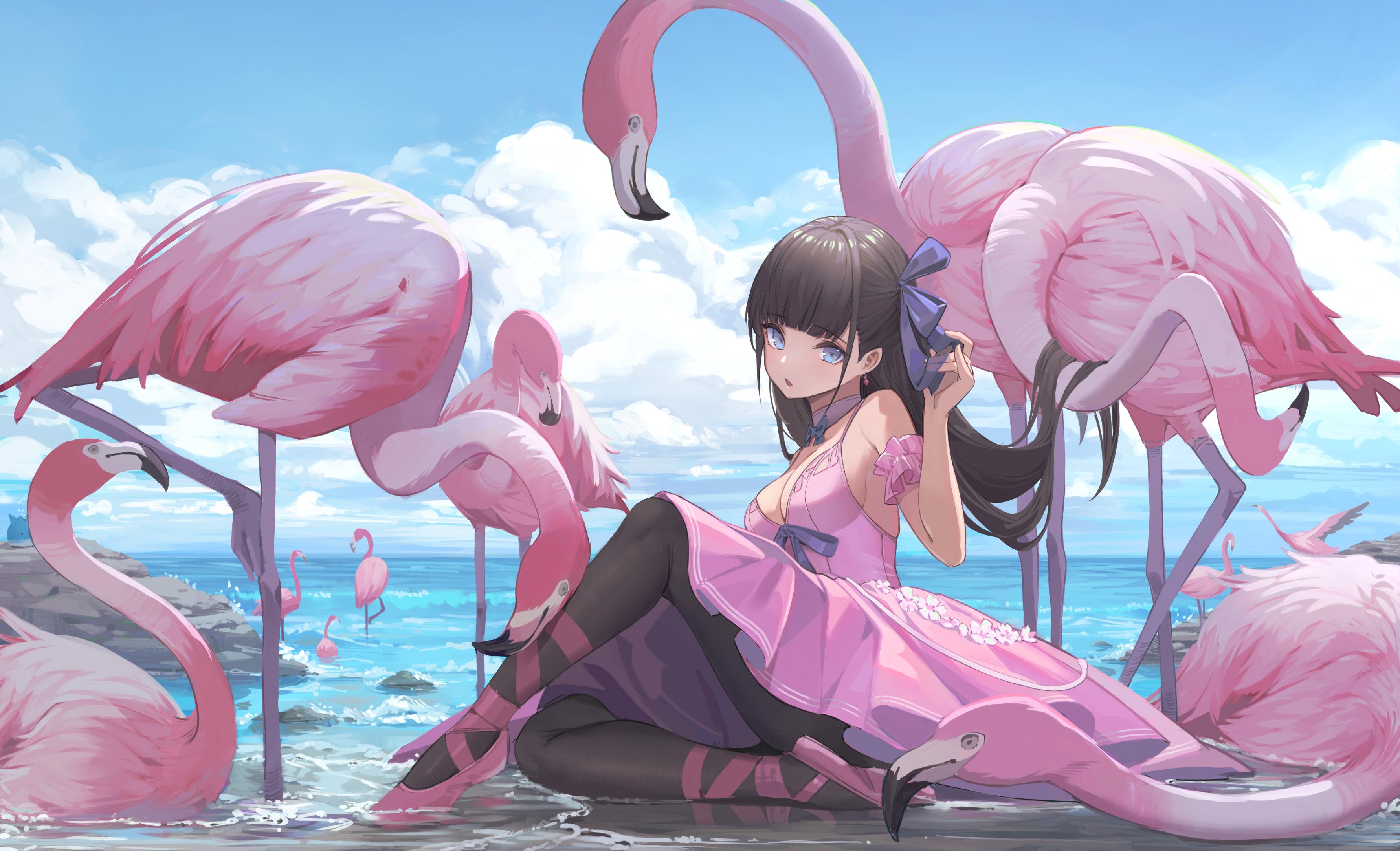 Anime 3563x2167 Nekojira anime anime girls sitting dress long hair bangs flamingos ballerina